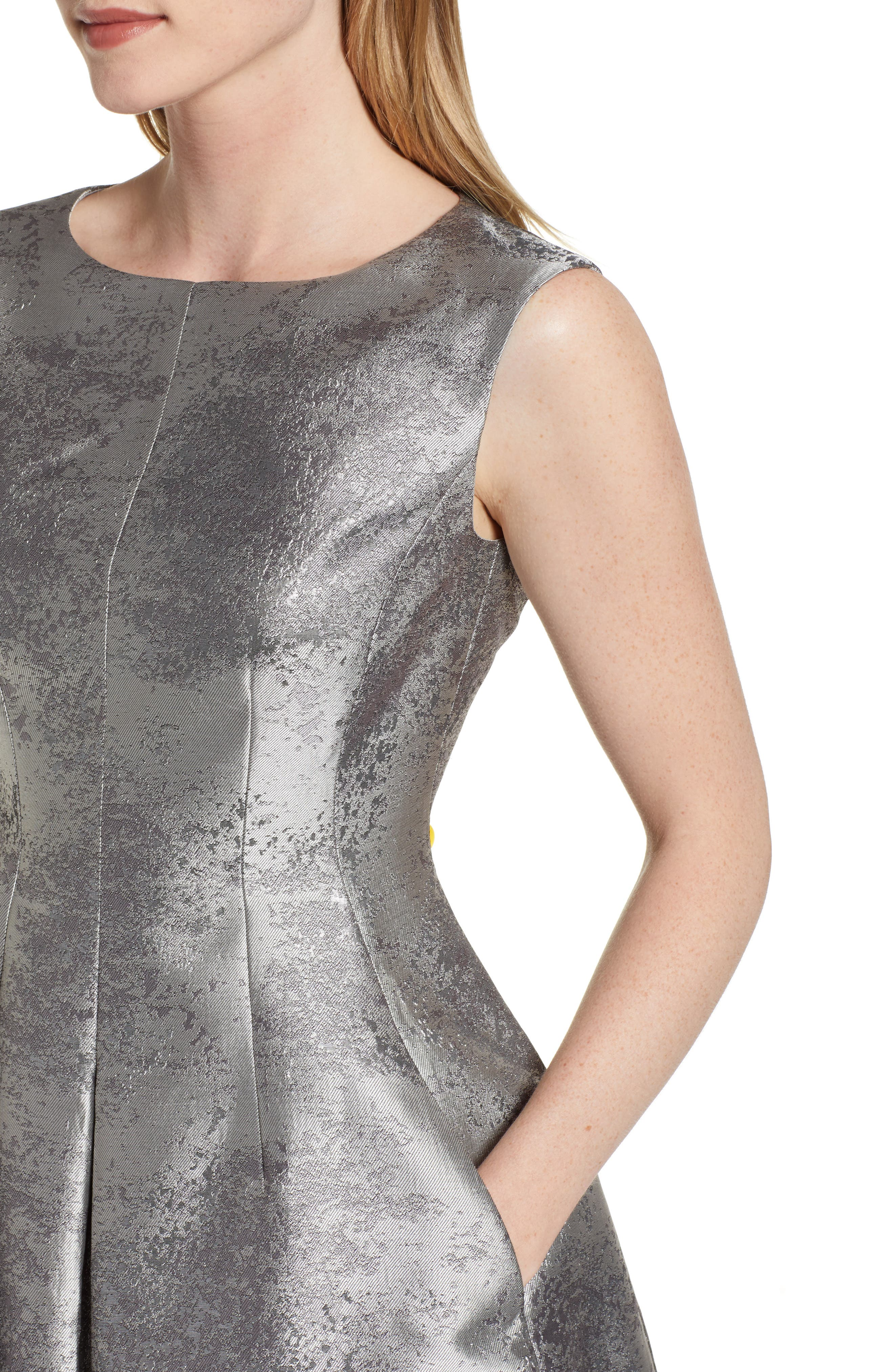 ANNE KLEIN,                             Satin Jacquard Fit & Flare Dress,                             Alternate thumbnail 4, color,                             SILVER COMBO