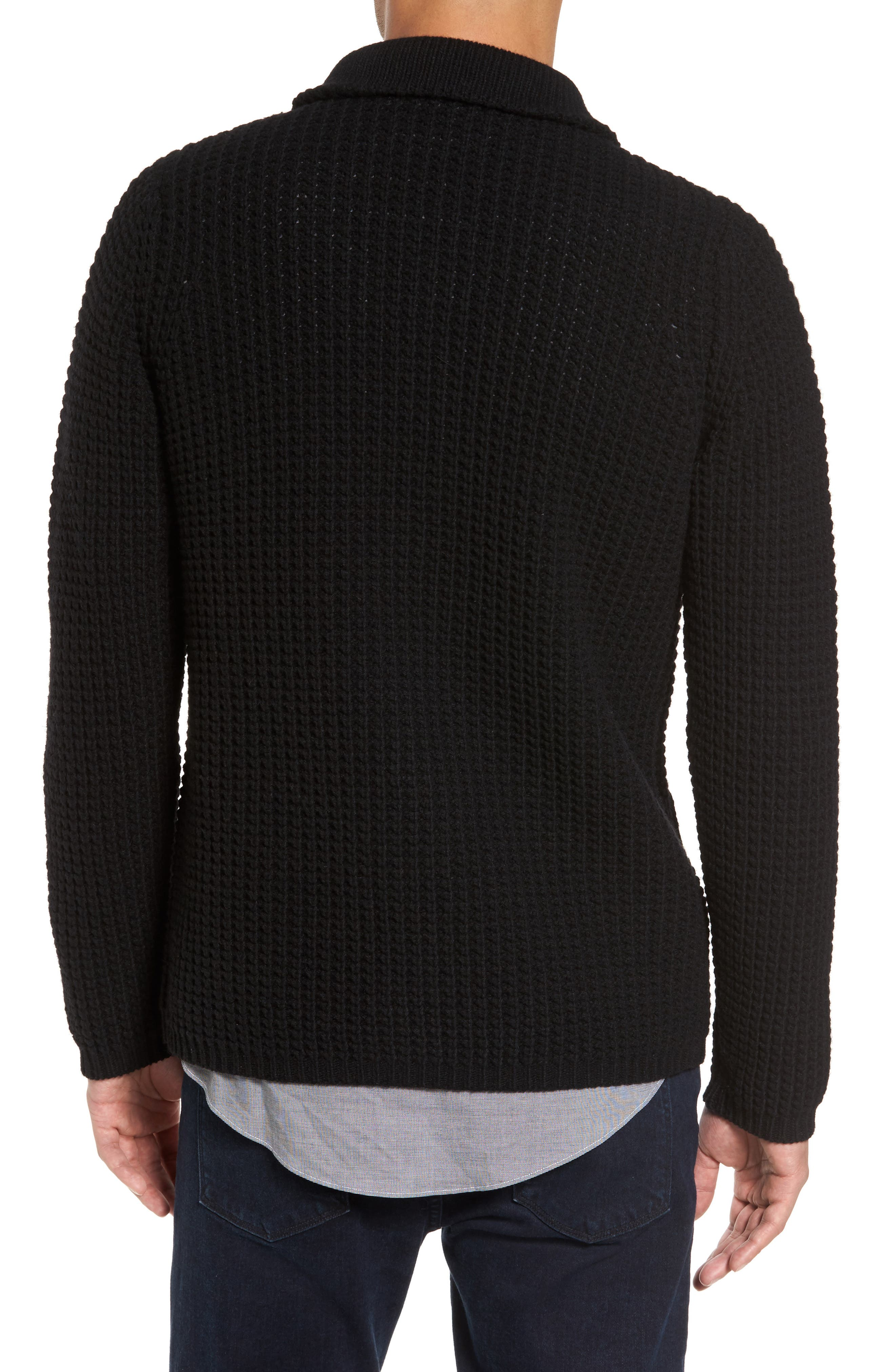 Trim Fit Knit Cardigan Jacket,                             Alternate thumbnail 2, color,                             001