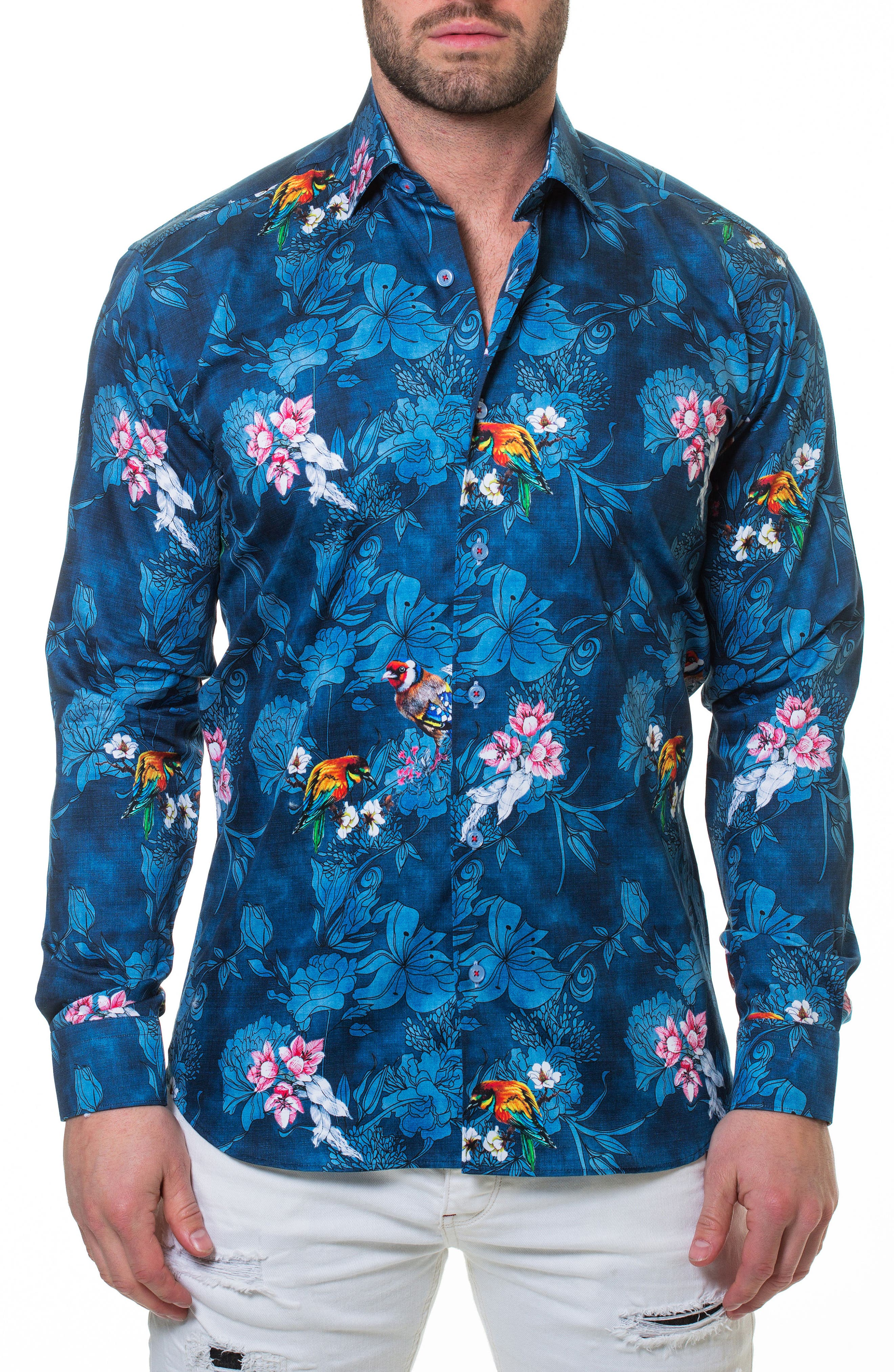 Wall Street Blossom Blue Sport Shirt,                             Alternate thumbnail 4, color,                             420