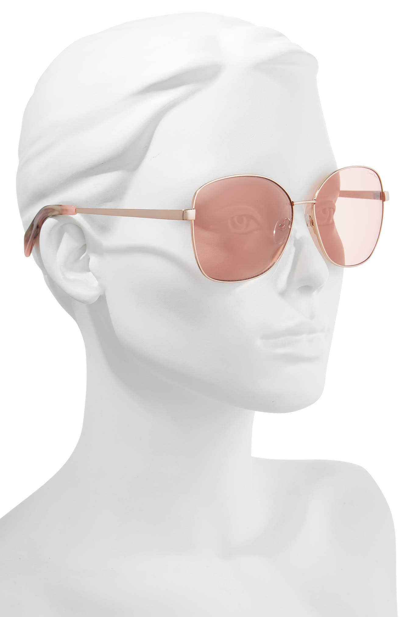 61mm Square Sunglasses,                             Alternate thumbnail 2, color,                             ROSE GOLD