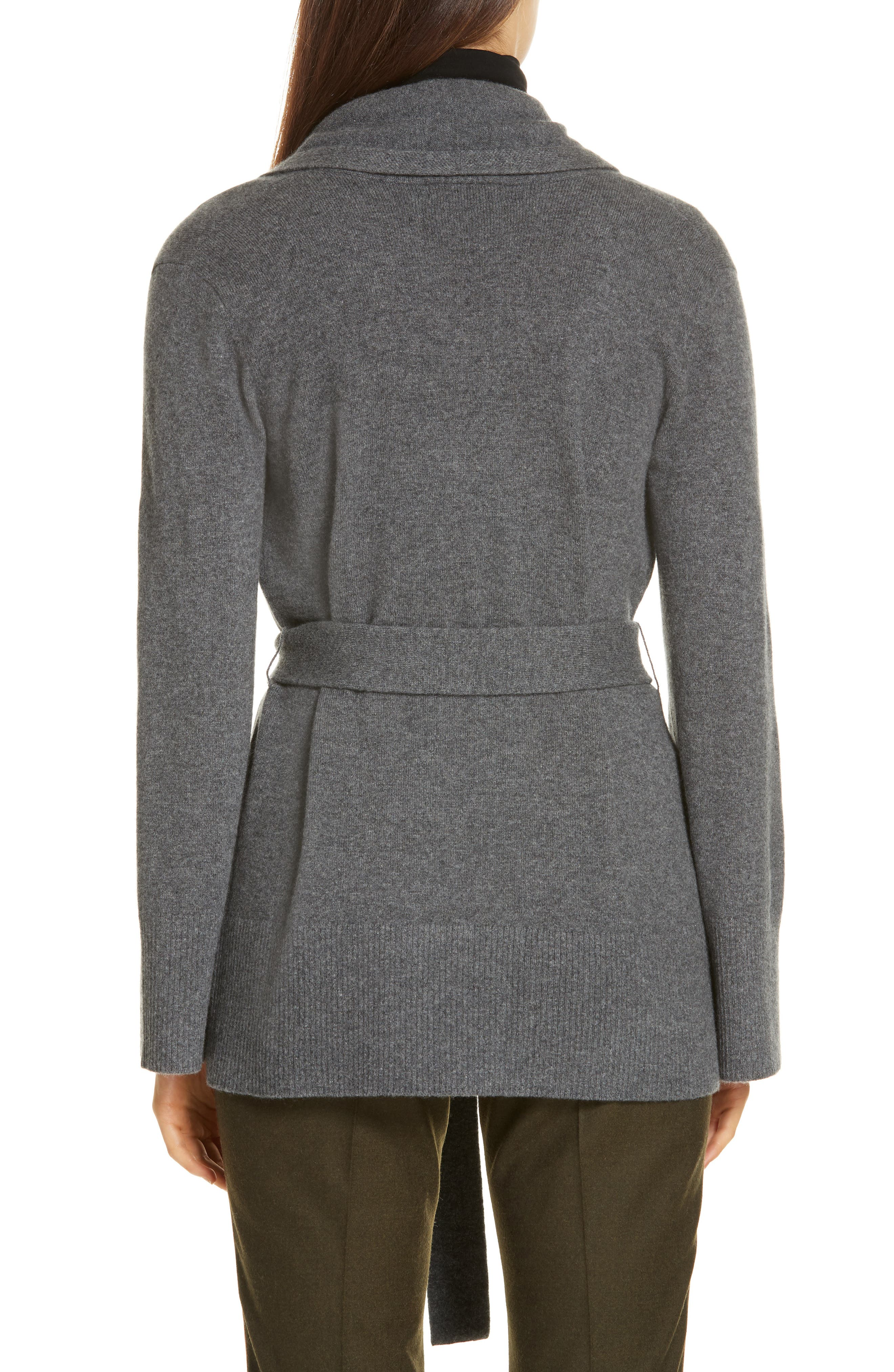 Belted Cashmere Blend Cardigan,                             Alternate thumbnail 2, color,                             GREY PEARL HEATHER