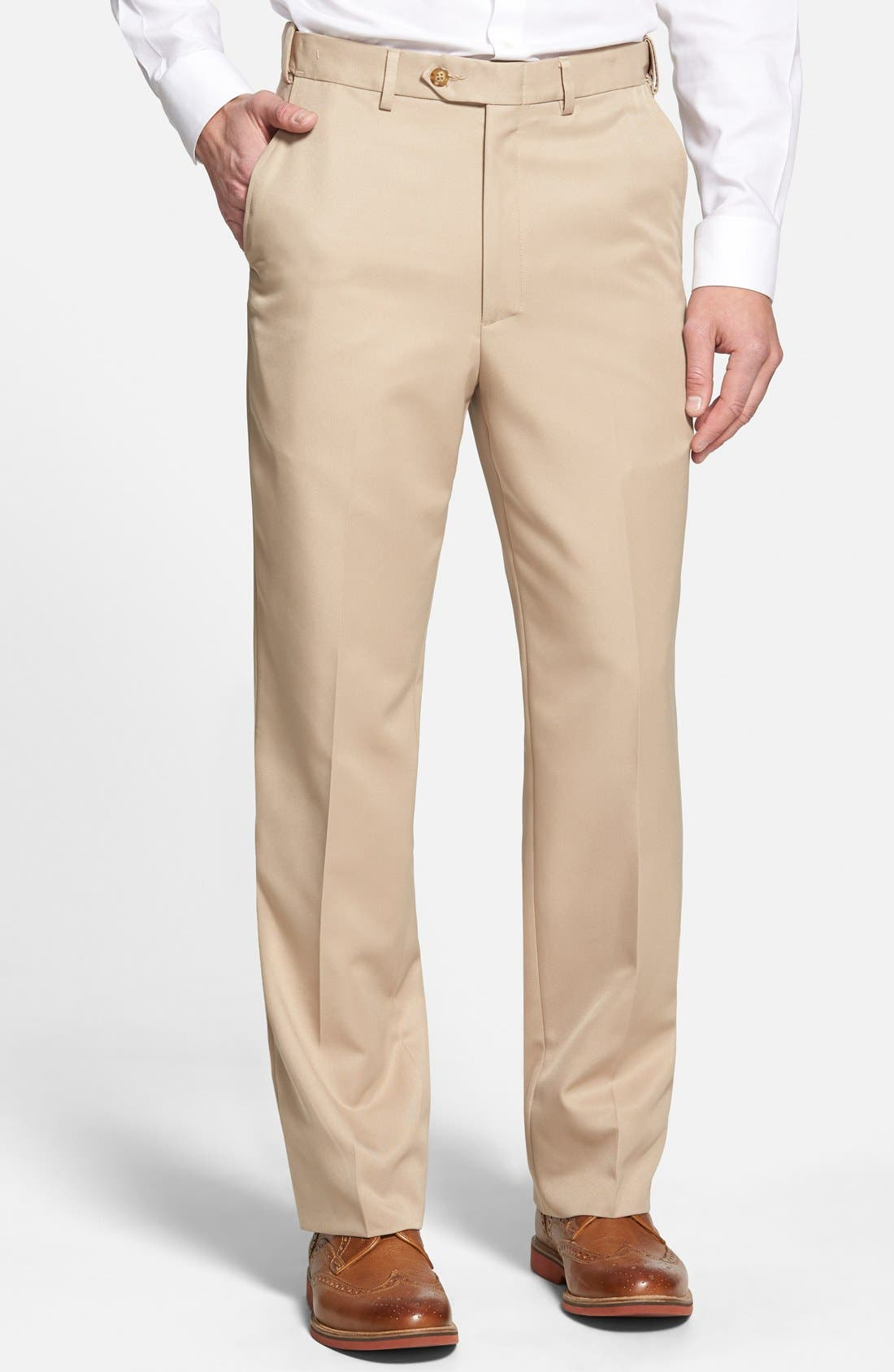 BERLE Self Sizer Waist Flat Front Trousers, Main, color, TAN