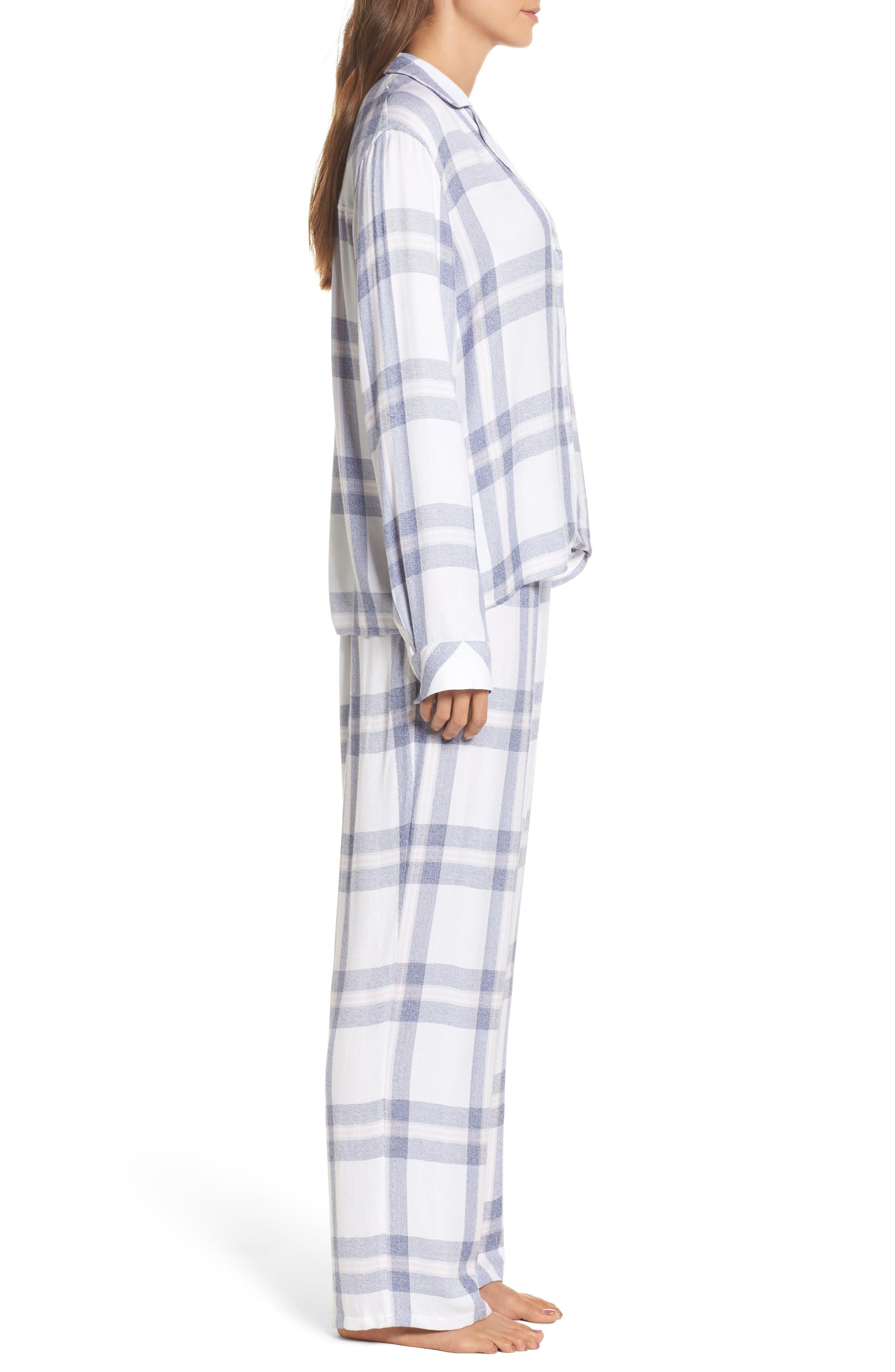 Plaid Pajamas,                             Alternate thumbnail 3, color,                             WHITE/ CHAMBRAY/ PETAL