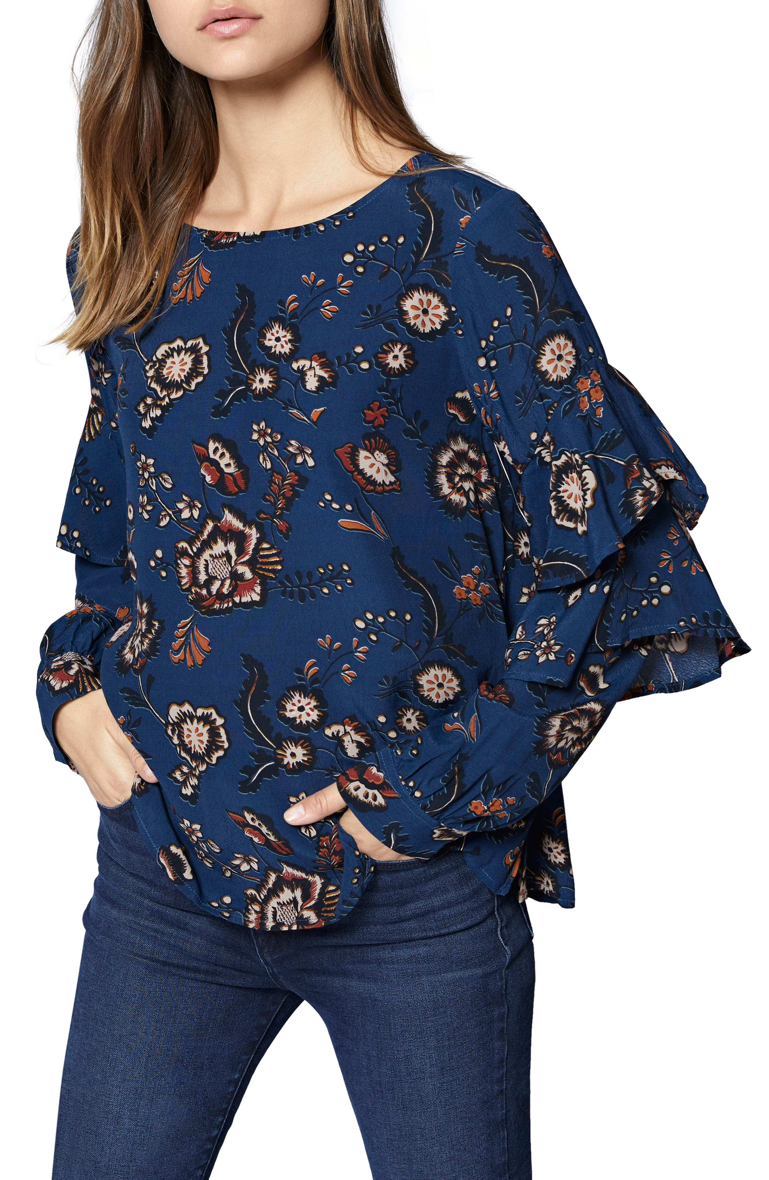 Tilly Floral Ruffle Sleeve Top,                         Main,                         color, BLUE LIFE