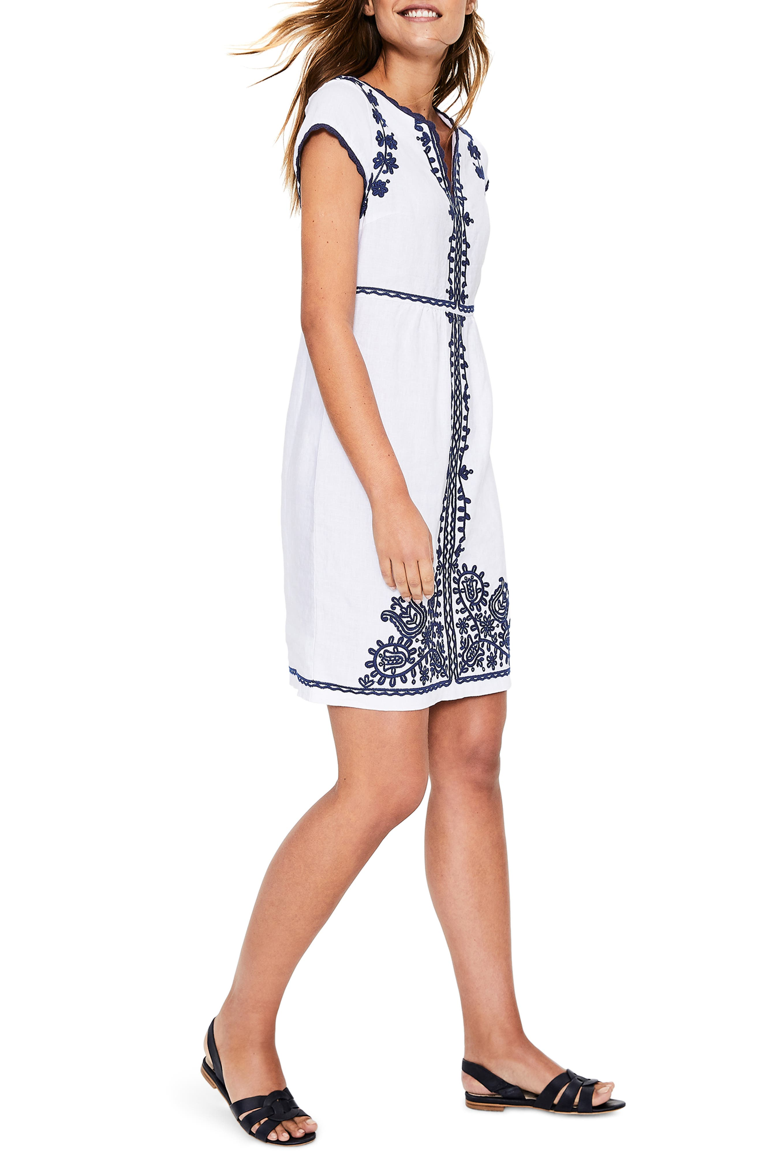 Notched Neck Embroidered Shift Dress,                             Alternate thumbnail 3, color,                             WHITE AND BLUE EMBROIDERY
