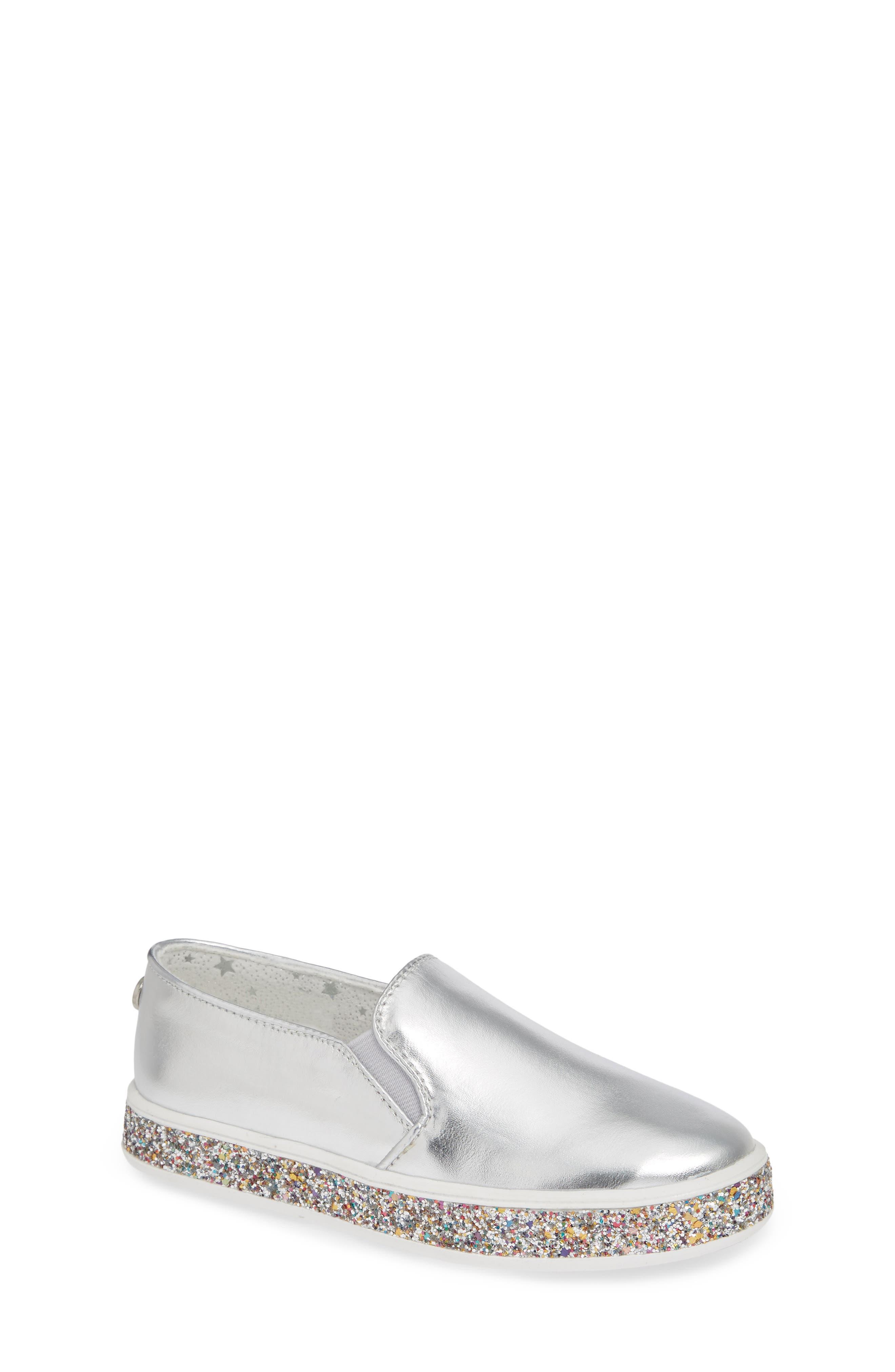 Jglorie Glitter Slip-On Sneaker,                         Main,                         color, SILVER