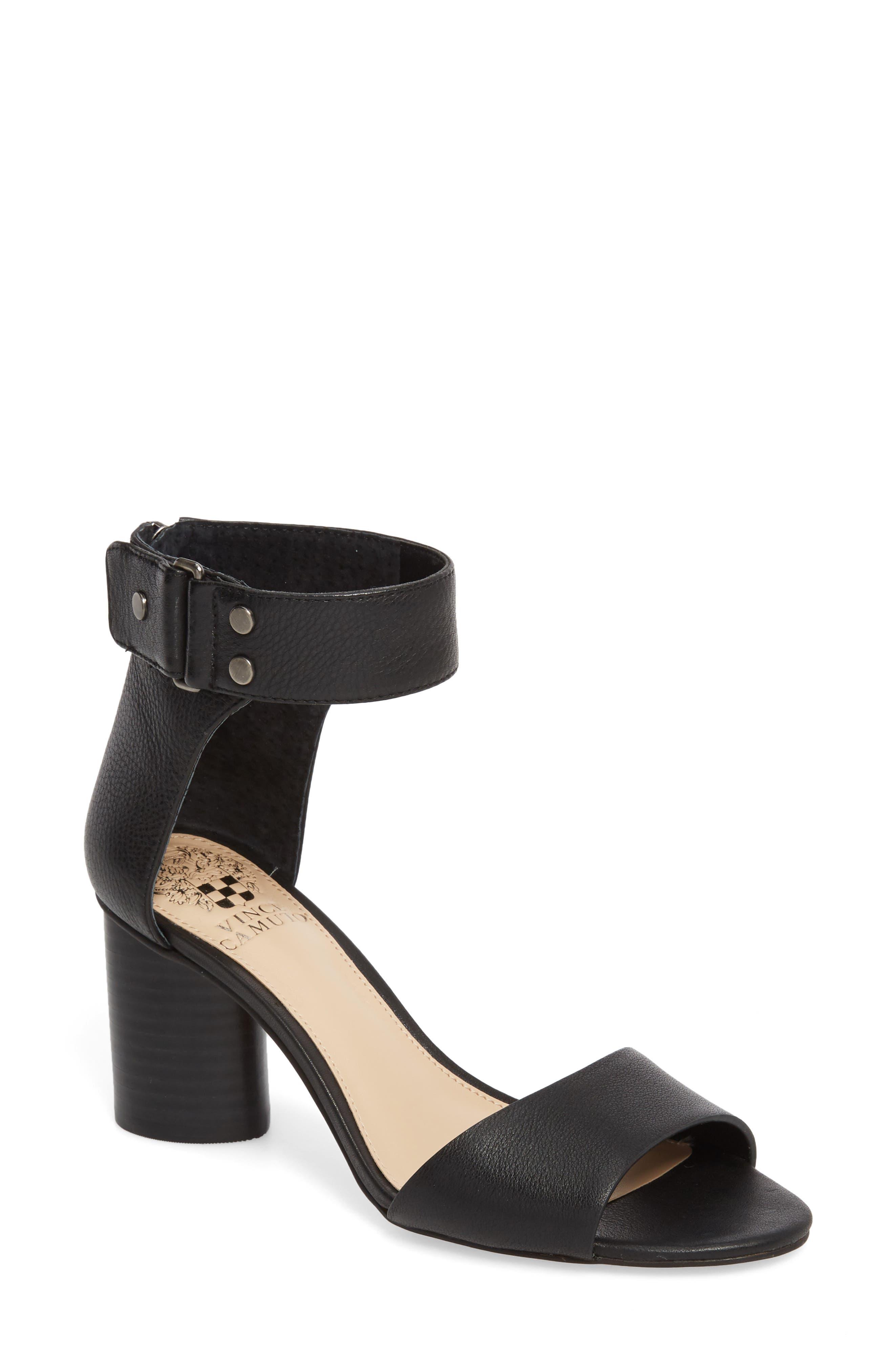 Jannali Ankle Strap Sandal,                         Main,                         color, BLACK LEATHER