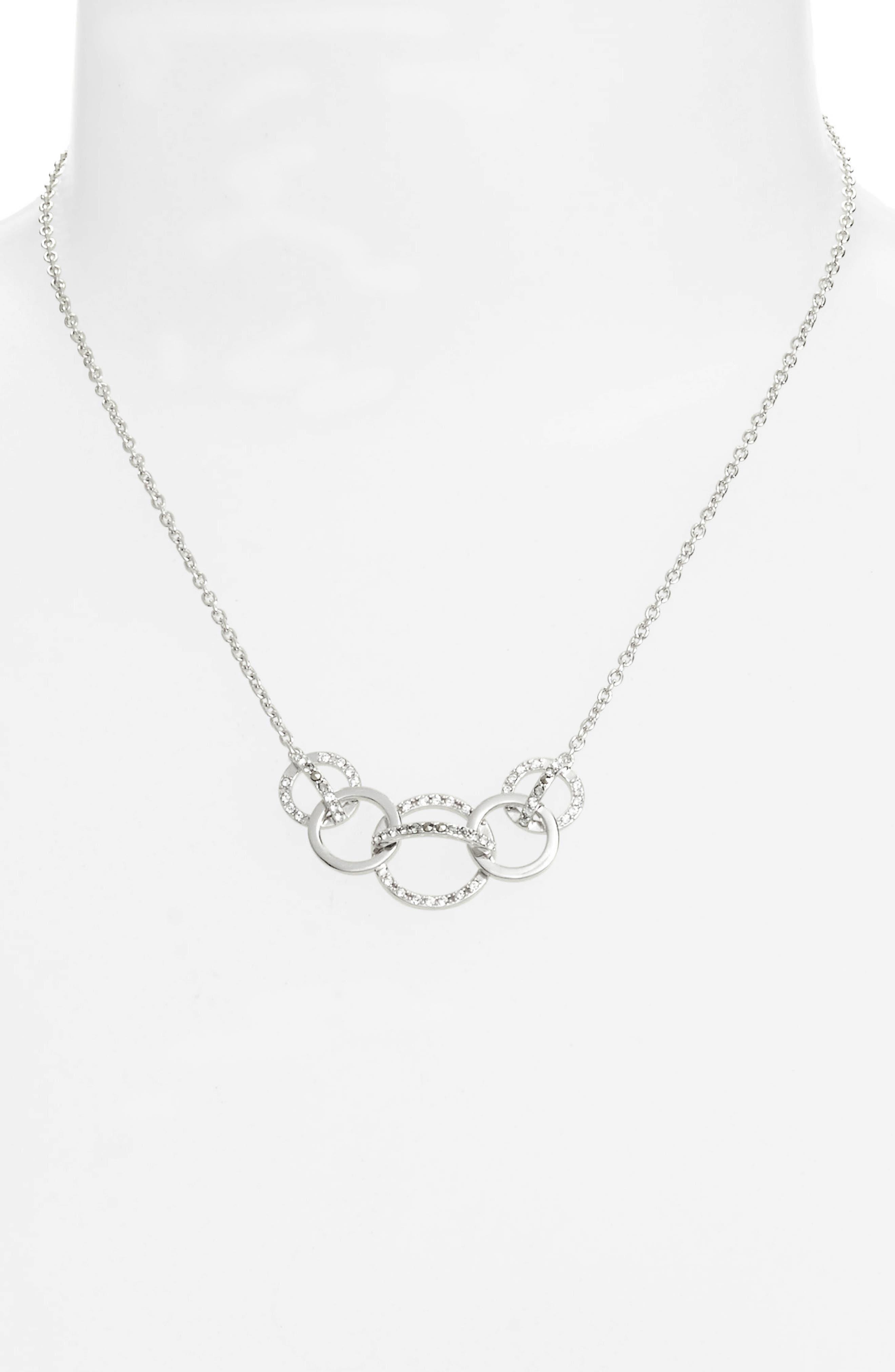 Silver Sparkle Crystal Collar Necklace,                             Alternate thumbnail 2, color,                             040
