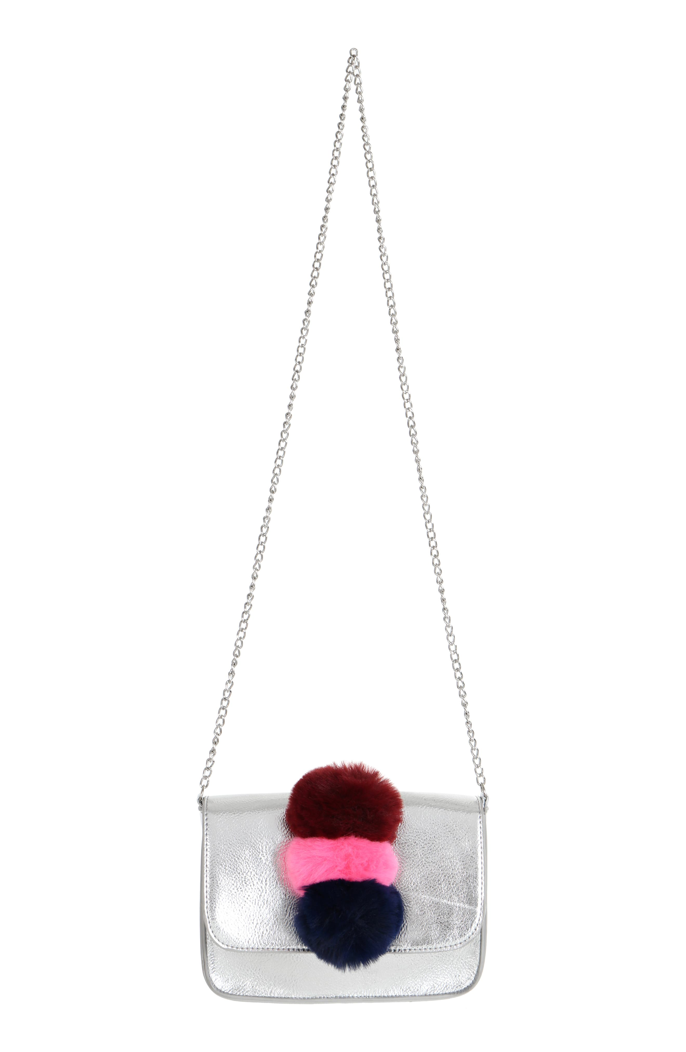 Metallic Pom Shoulder Bag,                             Alternate thumbnail 4, color,                             SILVER COMBO