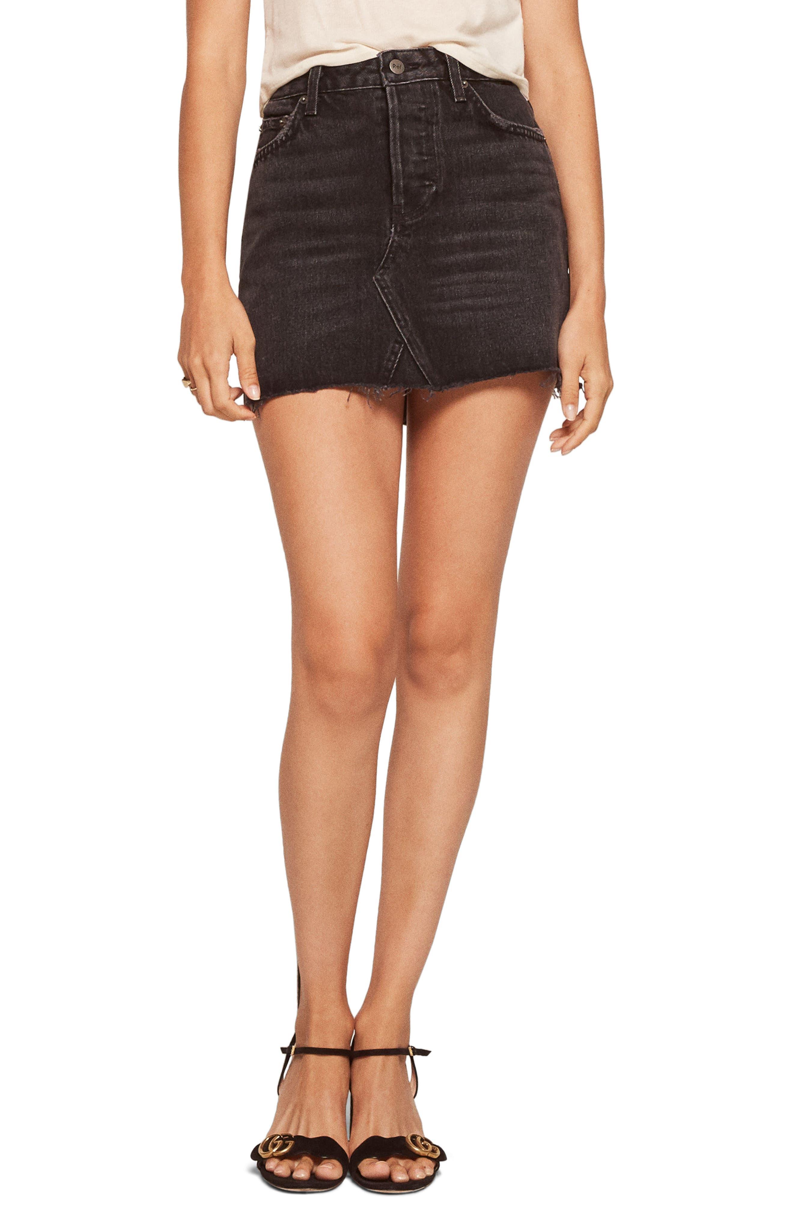 Retooled Denim Miniskirt,                         Main,                         color, 001