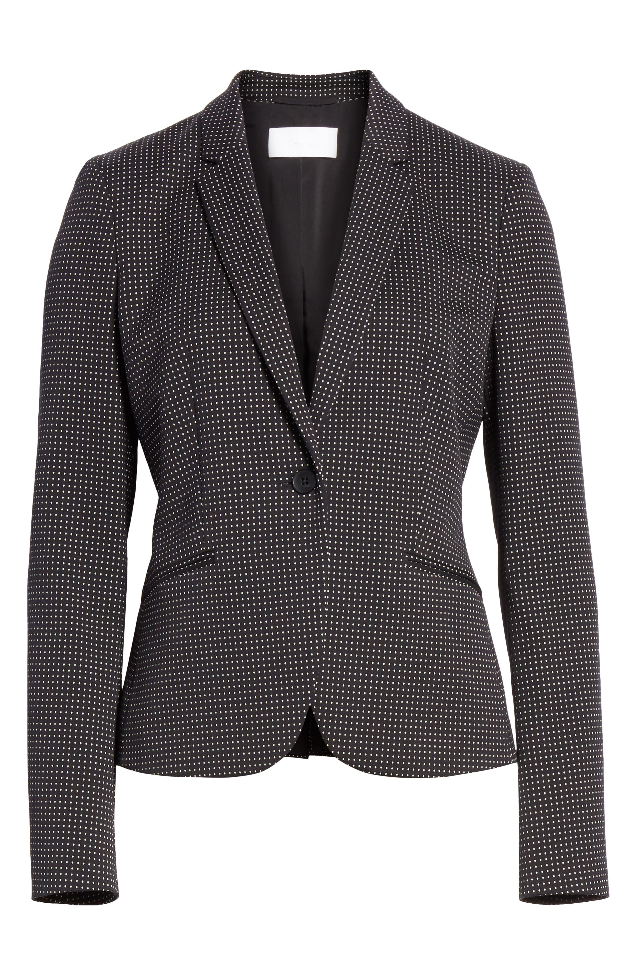 Jumano Dot Stretch Jacket,                             Alternate thumbnail 5, color,                             BLACK FANTASY