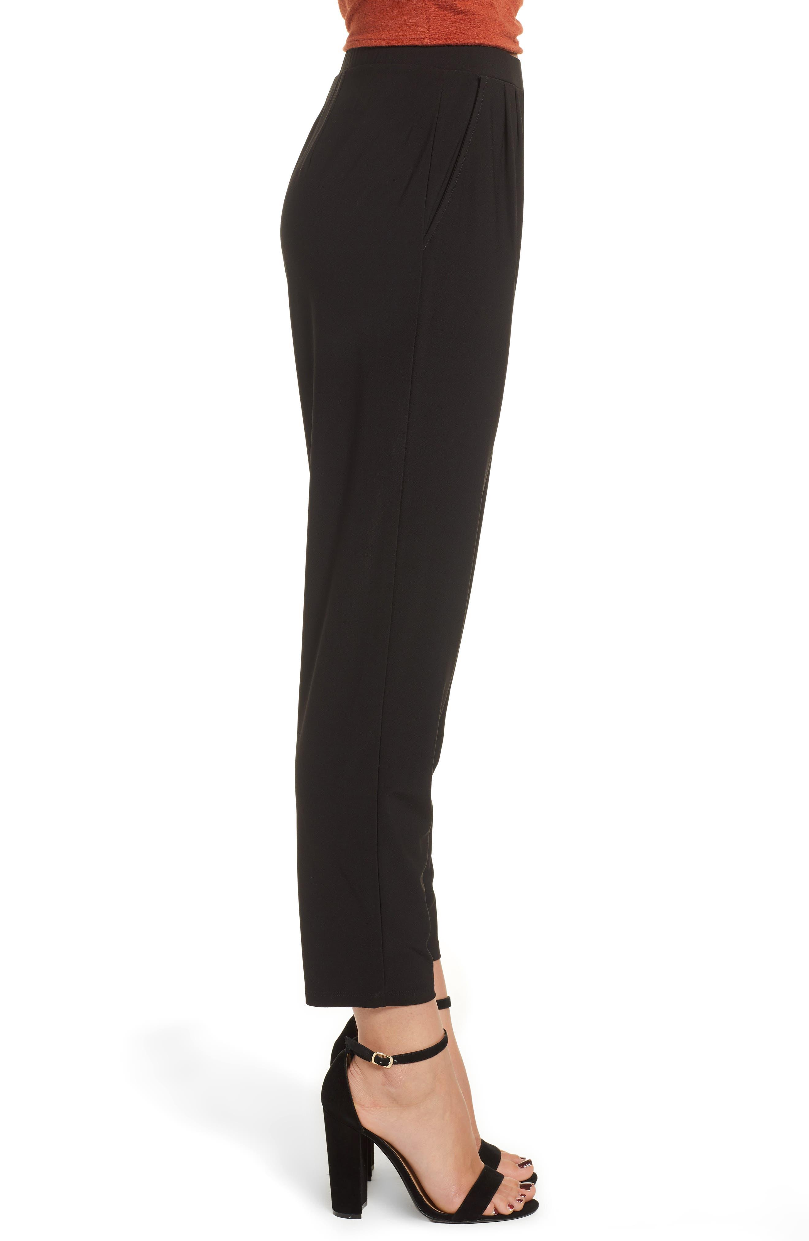Pleat Front Trousers,                             Alternate thumbnail 3, color,                             BLACK