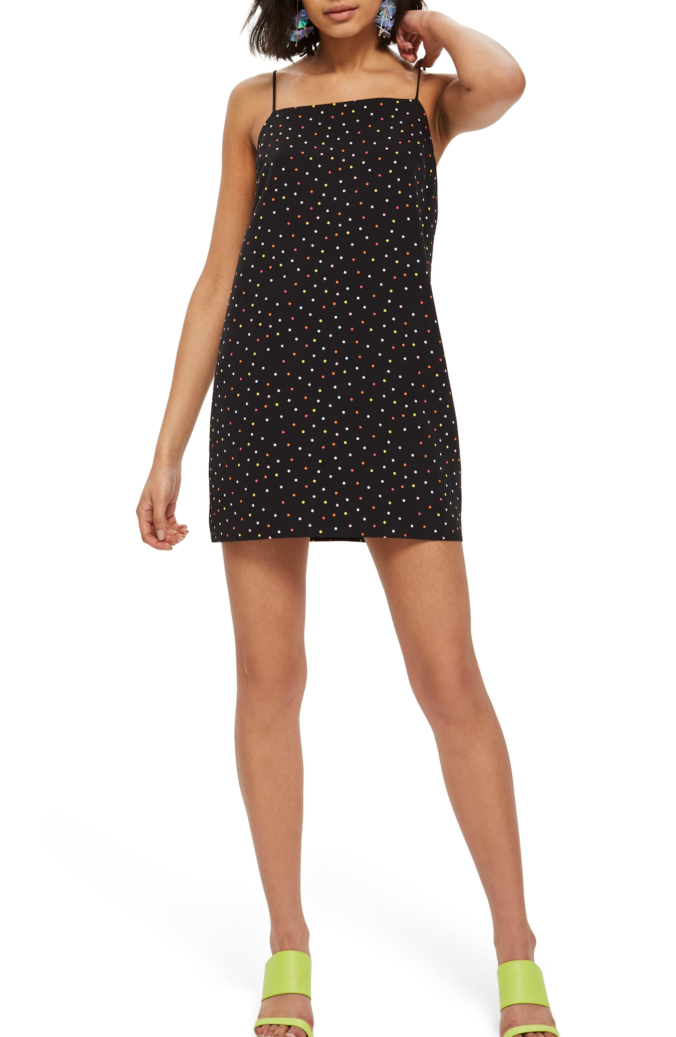 Square Neck Polka Dot Dress,                             Main thumbnail 1, color,                             001