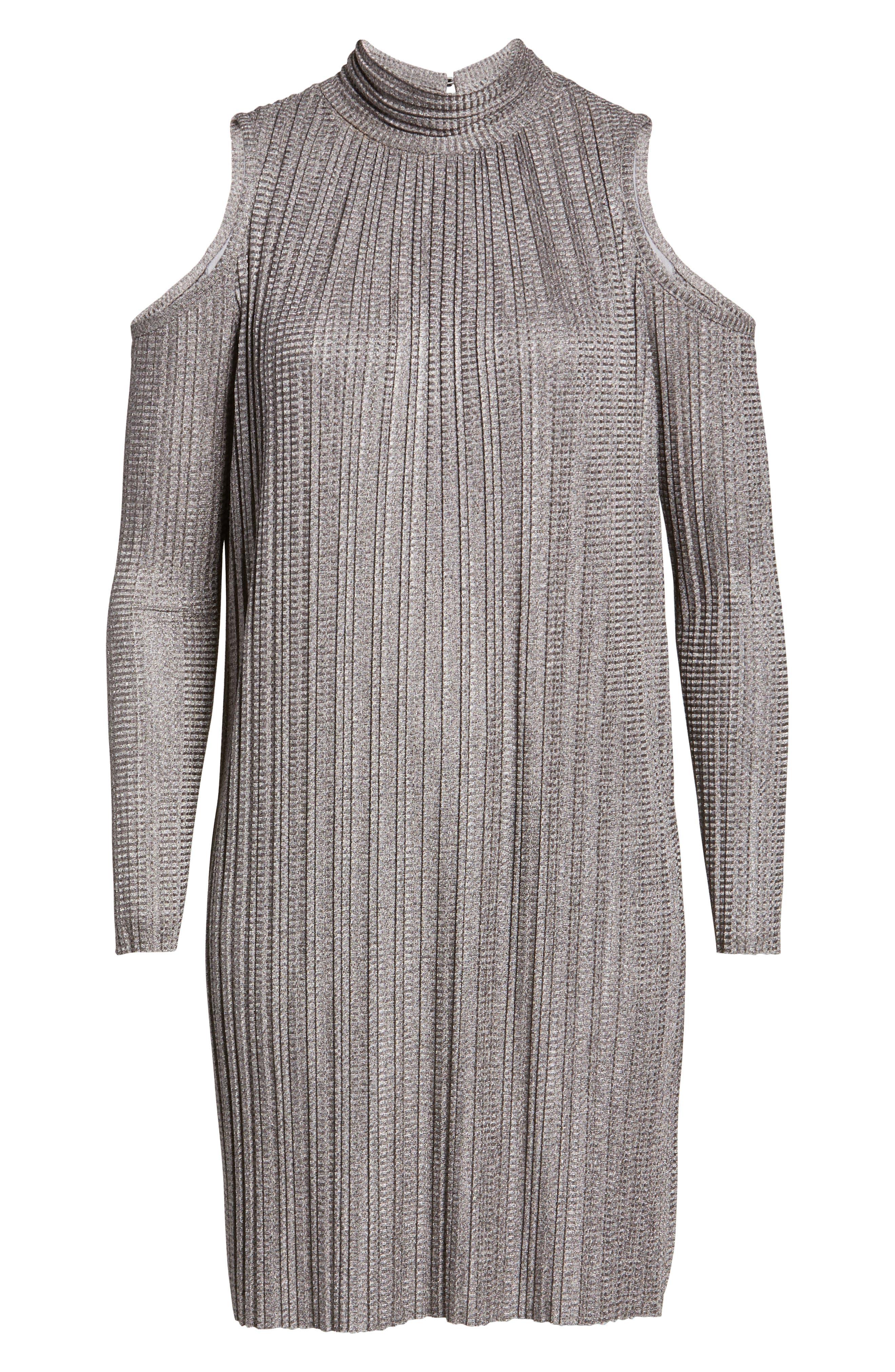 Cold Shoulder Pleated Shift Dress,                             Alternate thumbnail 6, color,                             685