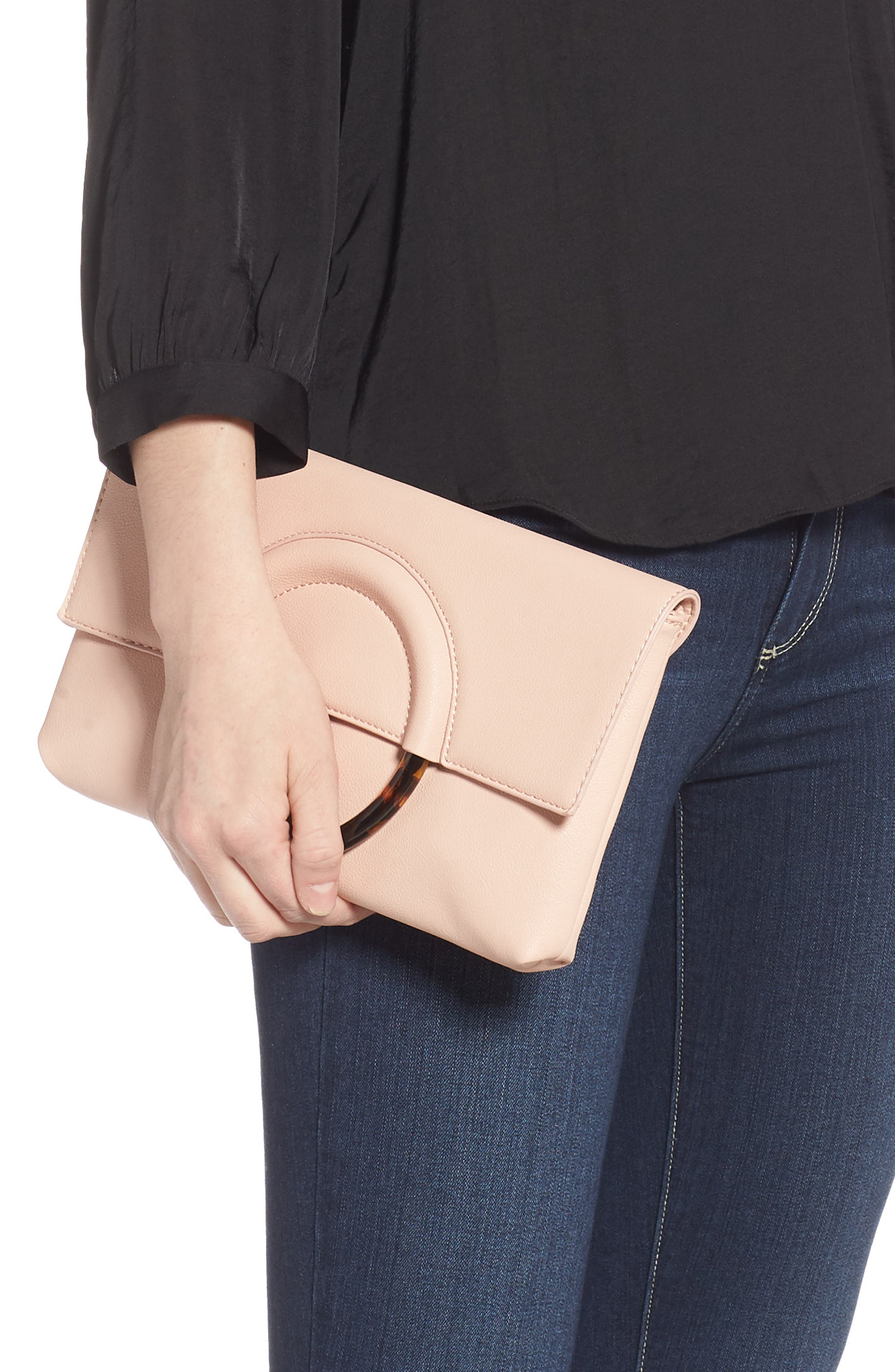 Resin Handle Clutch,                             Alternate thumbnail 2, color,                             NUDE