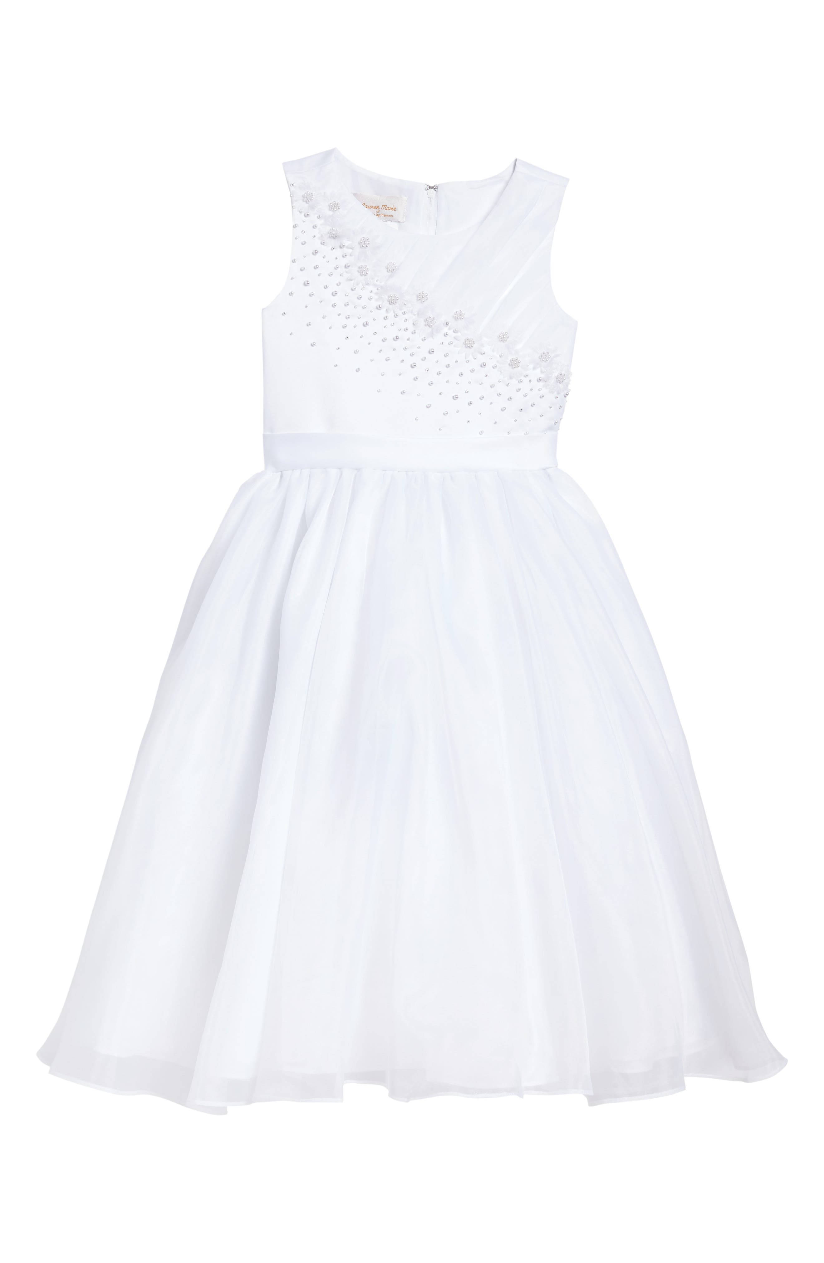 Beaded Daisy Bodice First Communion Dress,                             Main thumbnail 1, color,                             100