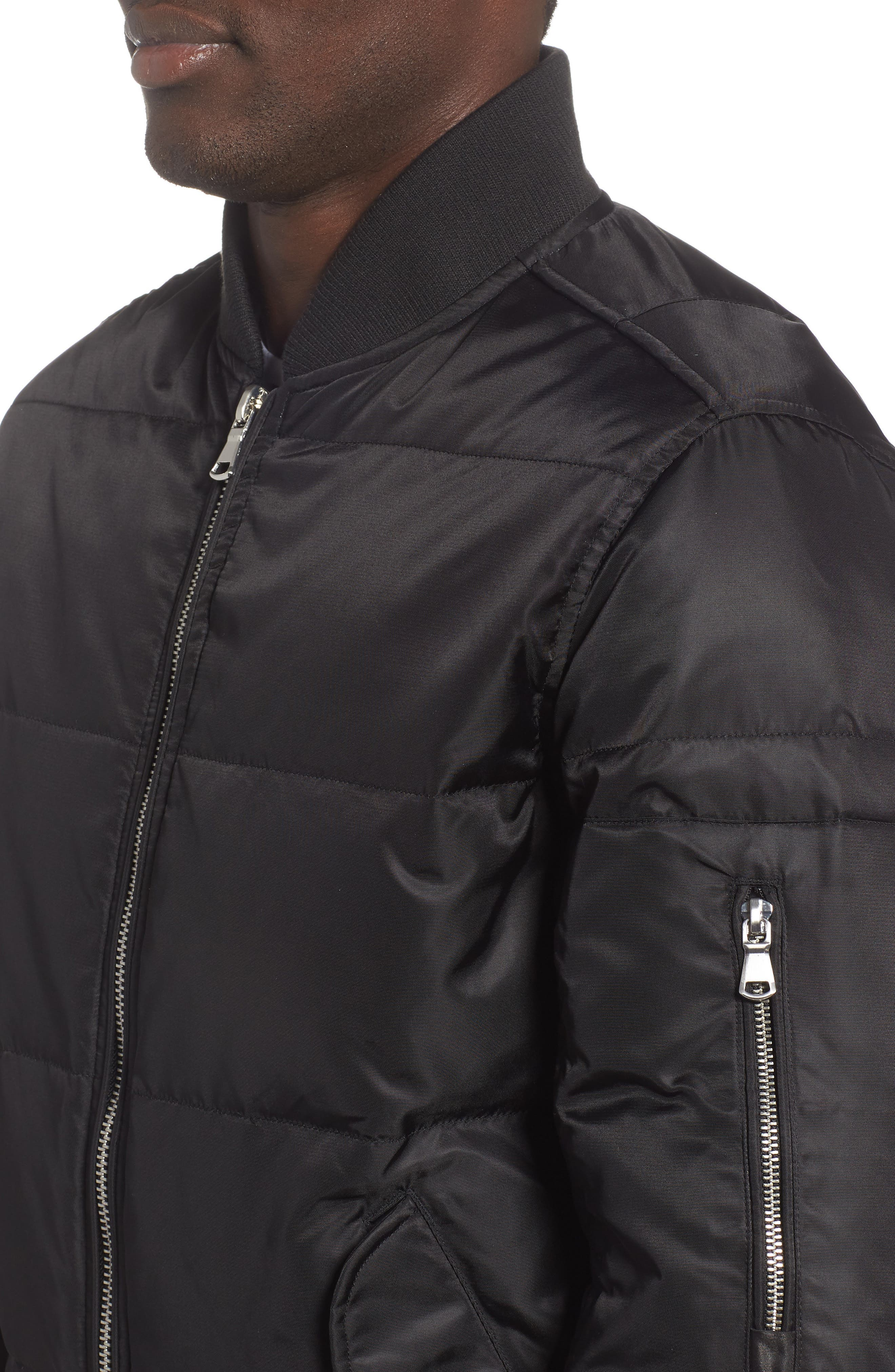 Vandal Down & Feather Fill Quilted Bomber Jacket,                             Alternate thumbnail 4, color,                             BLACK