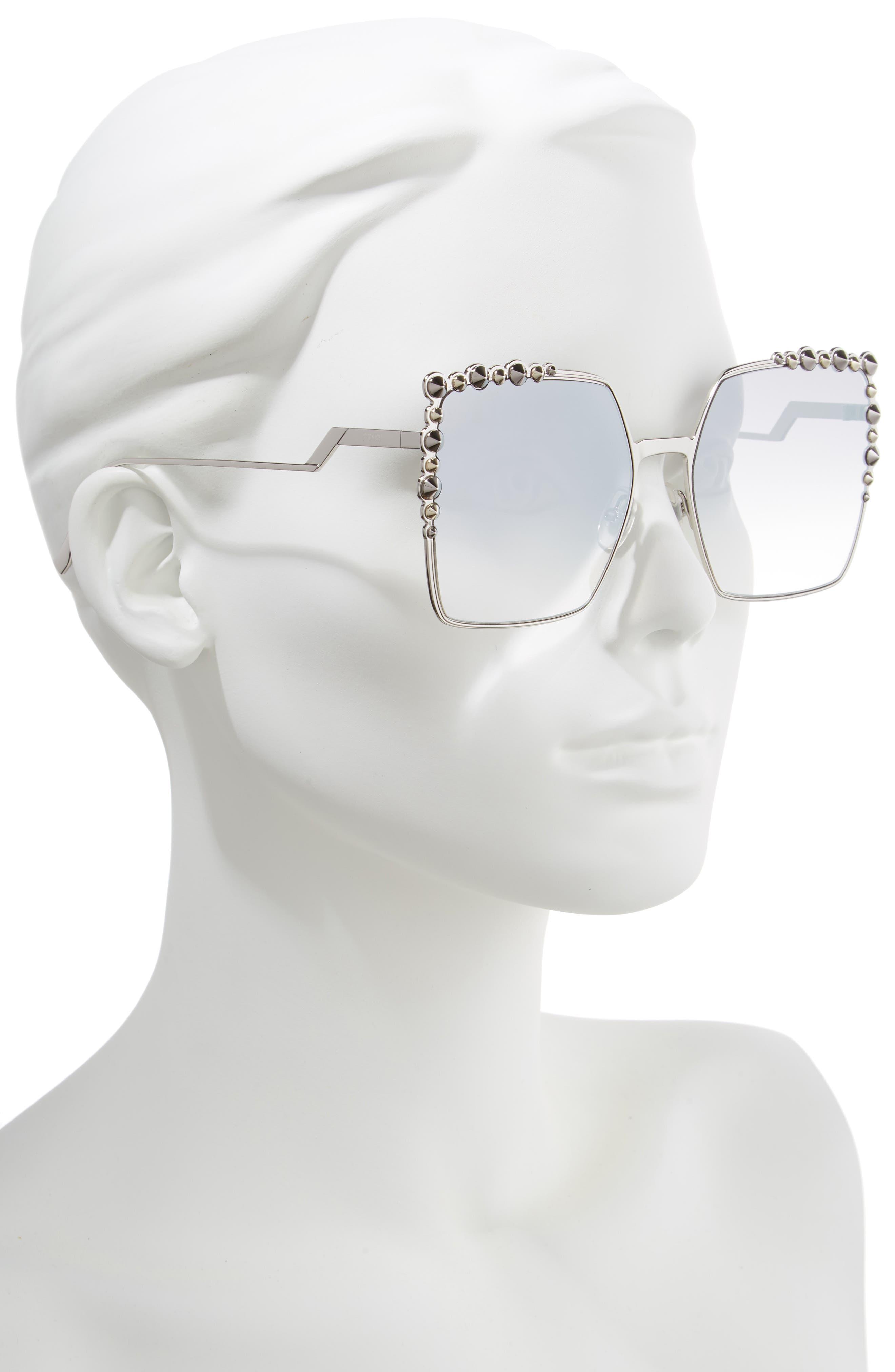 60mm Gradient Square Cat Eye Sunglasses,                             Alternate thumbnail 2, color,                             043