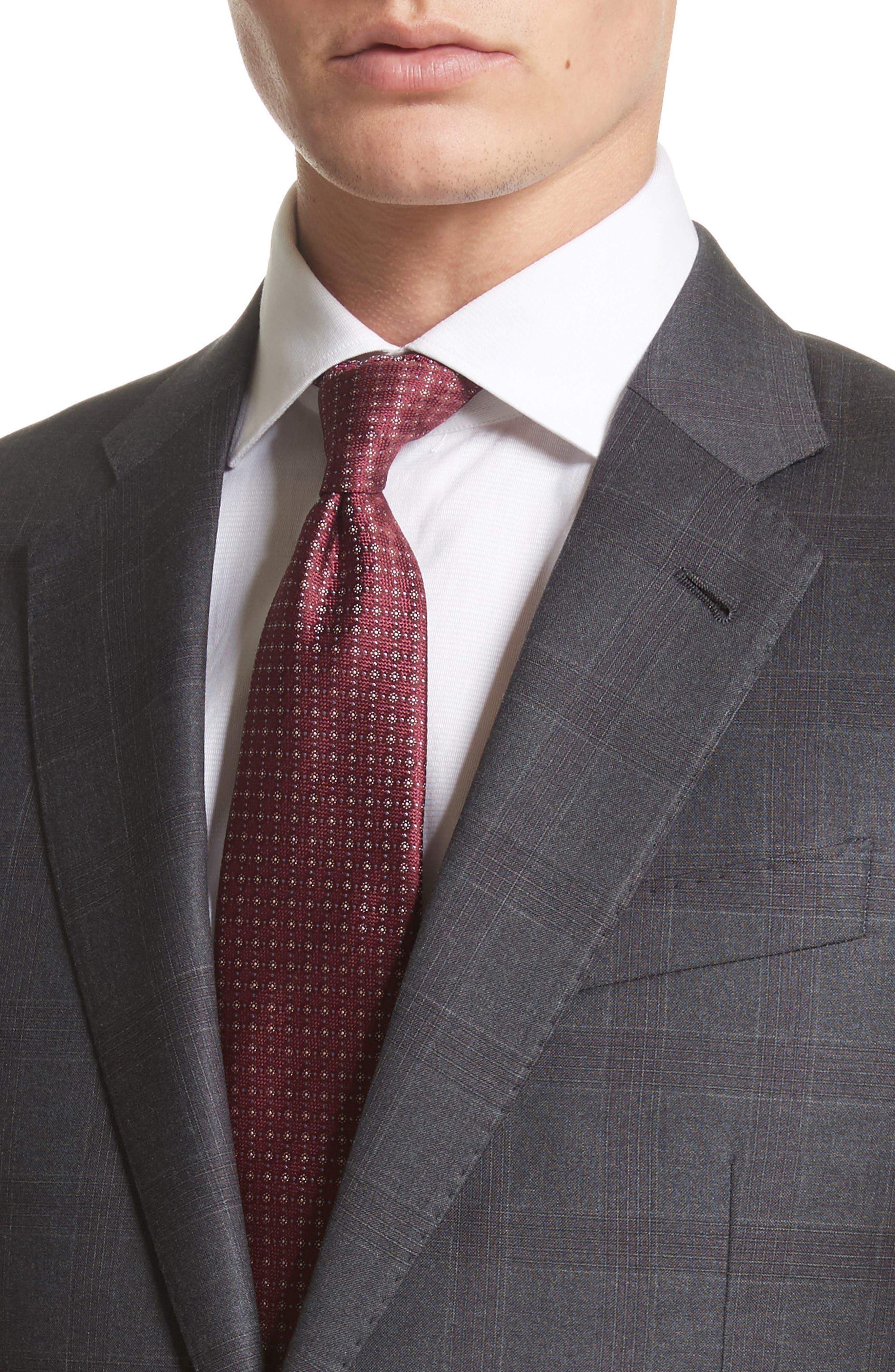 G-Line Trim Fit Plaid Wool Suit,                             Alternate thumbnail 4, color,                             038