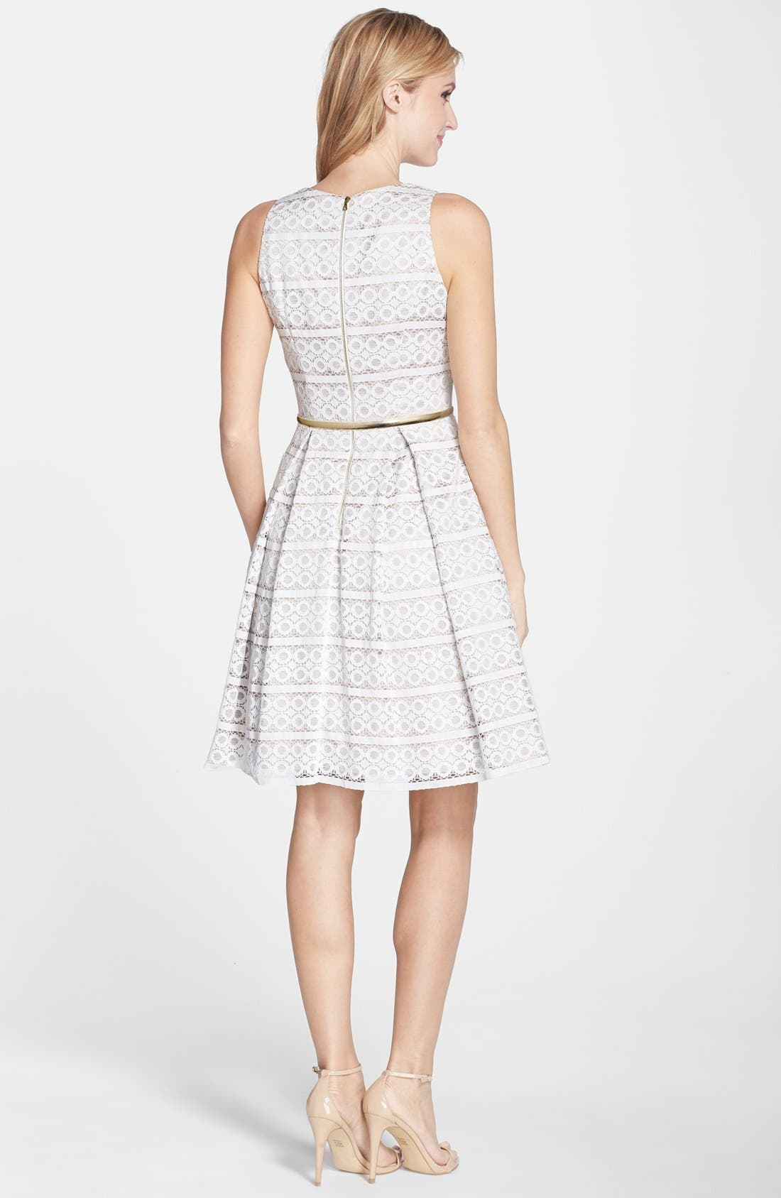 Belted Eyelet Lace Fit & Flare Dress,                             Alternate thumbnail 4, color,                             900