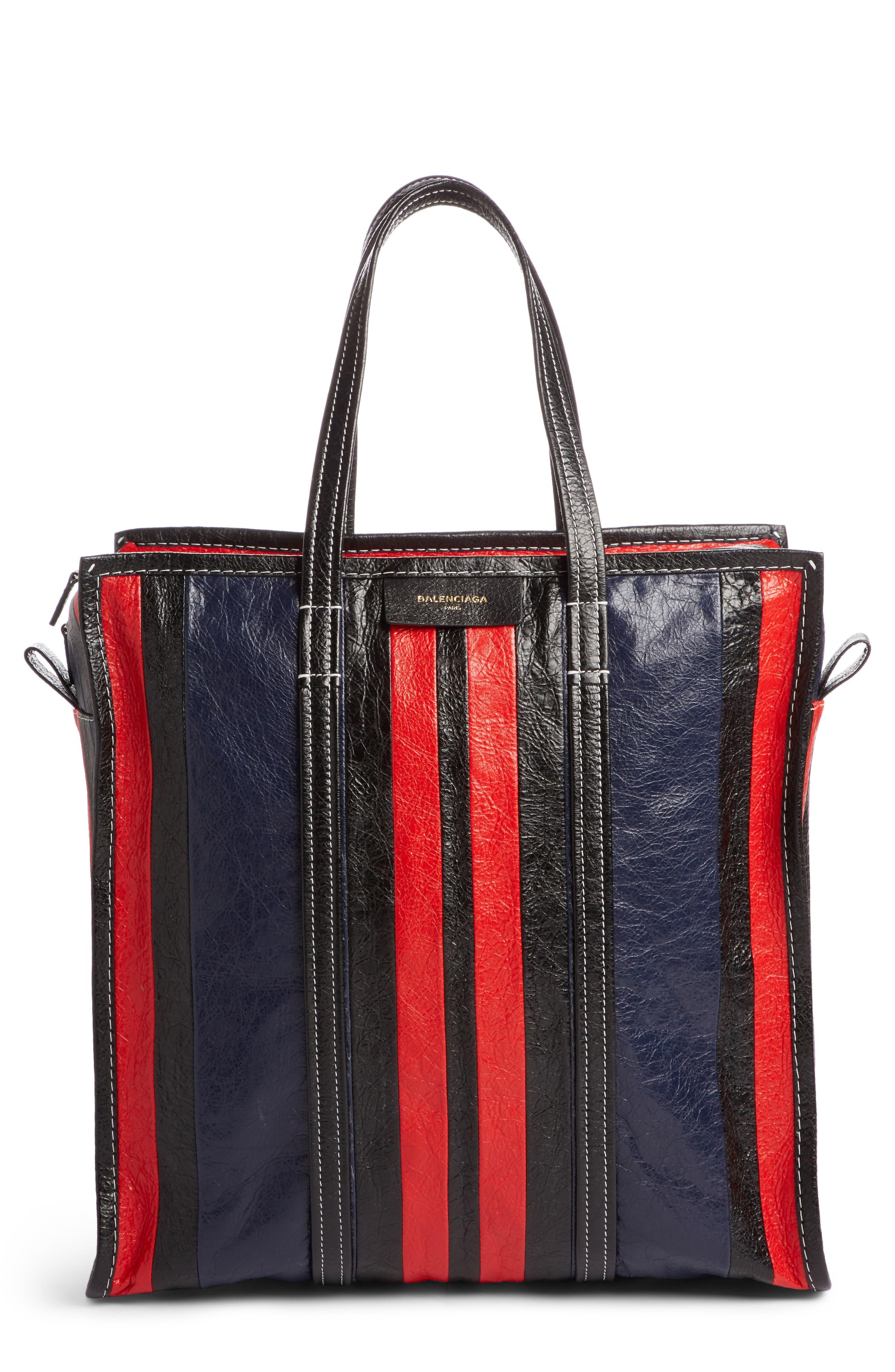 Medium Bazar Stripe Leather Tote,                             Main thumbnail 1, color,                             489