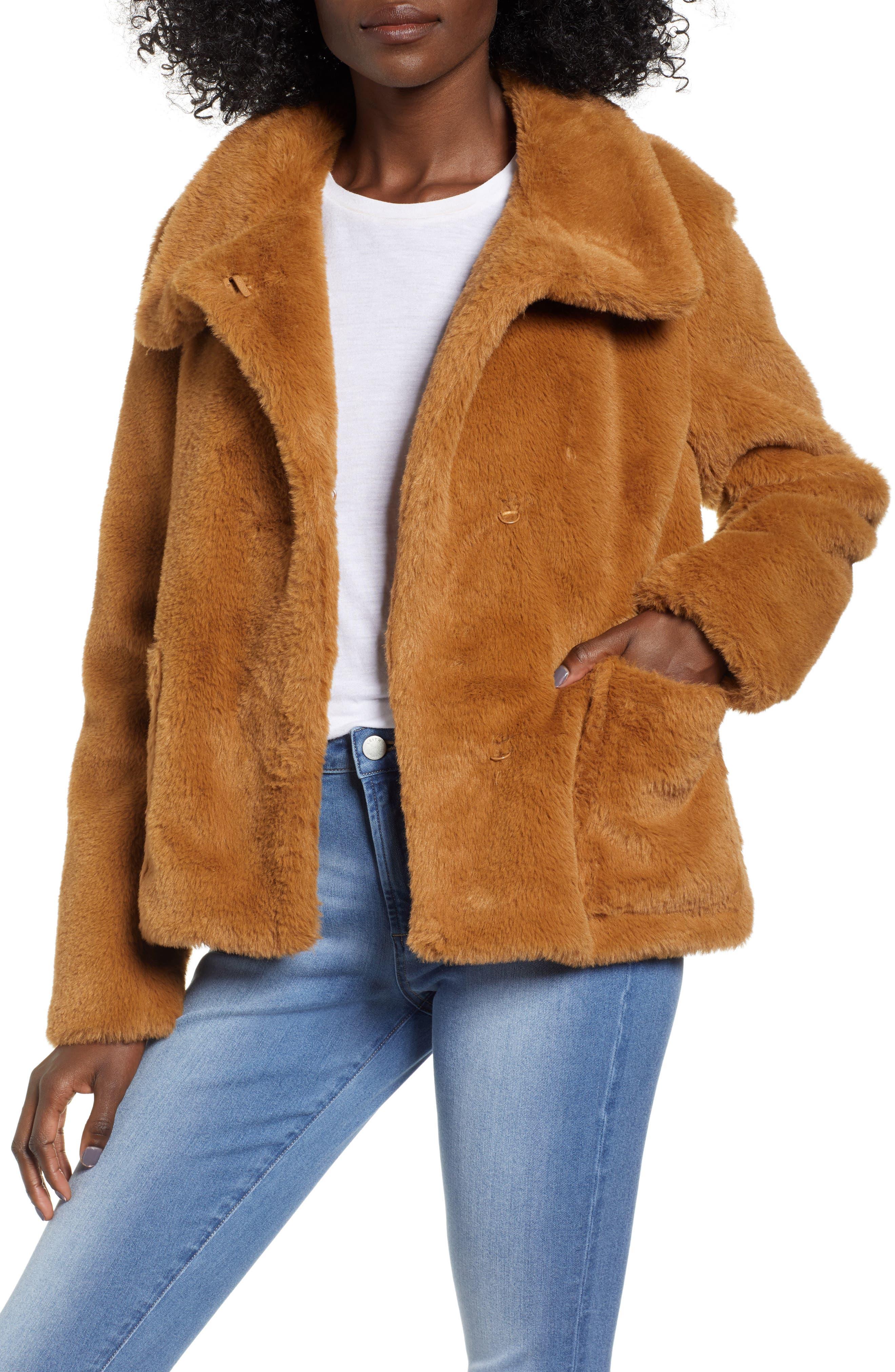 Fur-Fect Faux Fur Jacket,                             Main thumbnail 1, color,                             TAN DALE