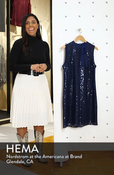 Sequin Tie Neck Shift Dress, sales video thumbnail