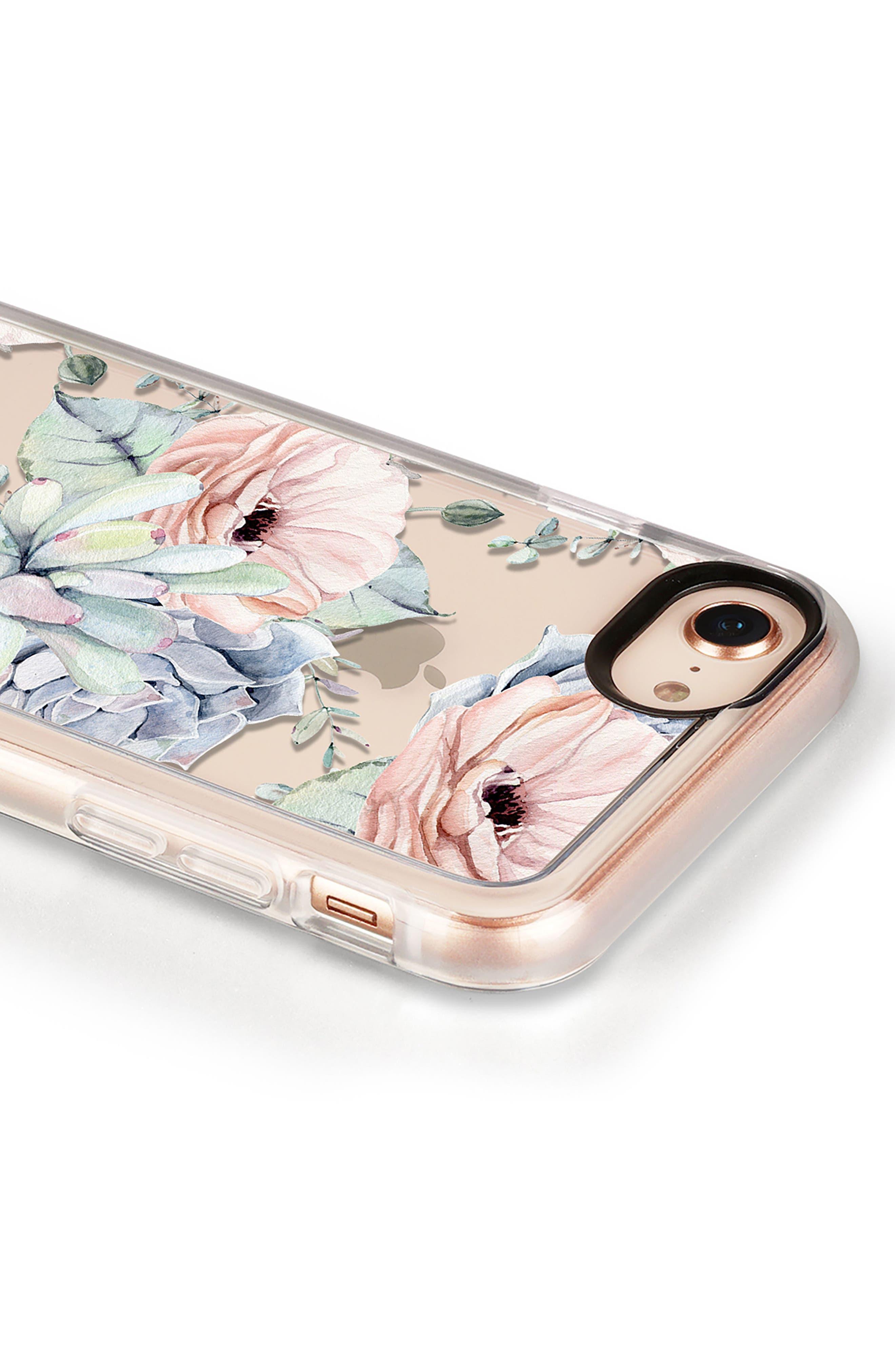 Pretty Succulents iPhone 7/8 & 7/8 Plus Case,                             Alternate thumbnail 4, color,                             CLEAR MULTI