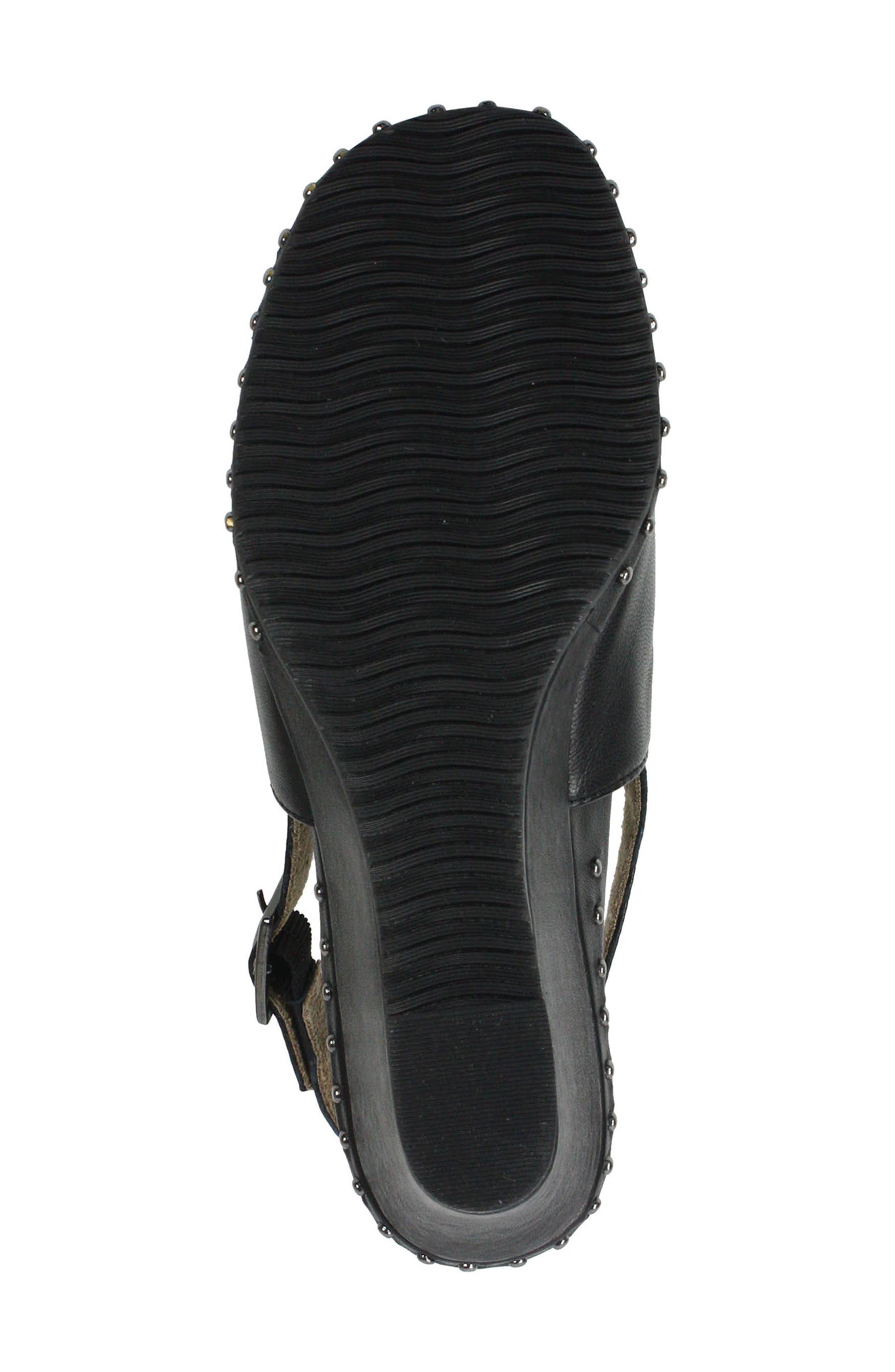 Antandra Wedge Sandal,                             Alternate thumbnail 6, color,                             BLACK LEATHER