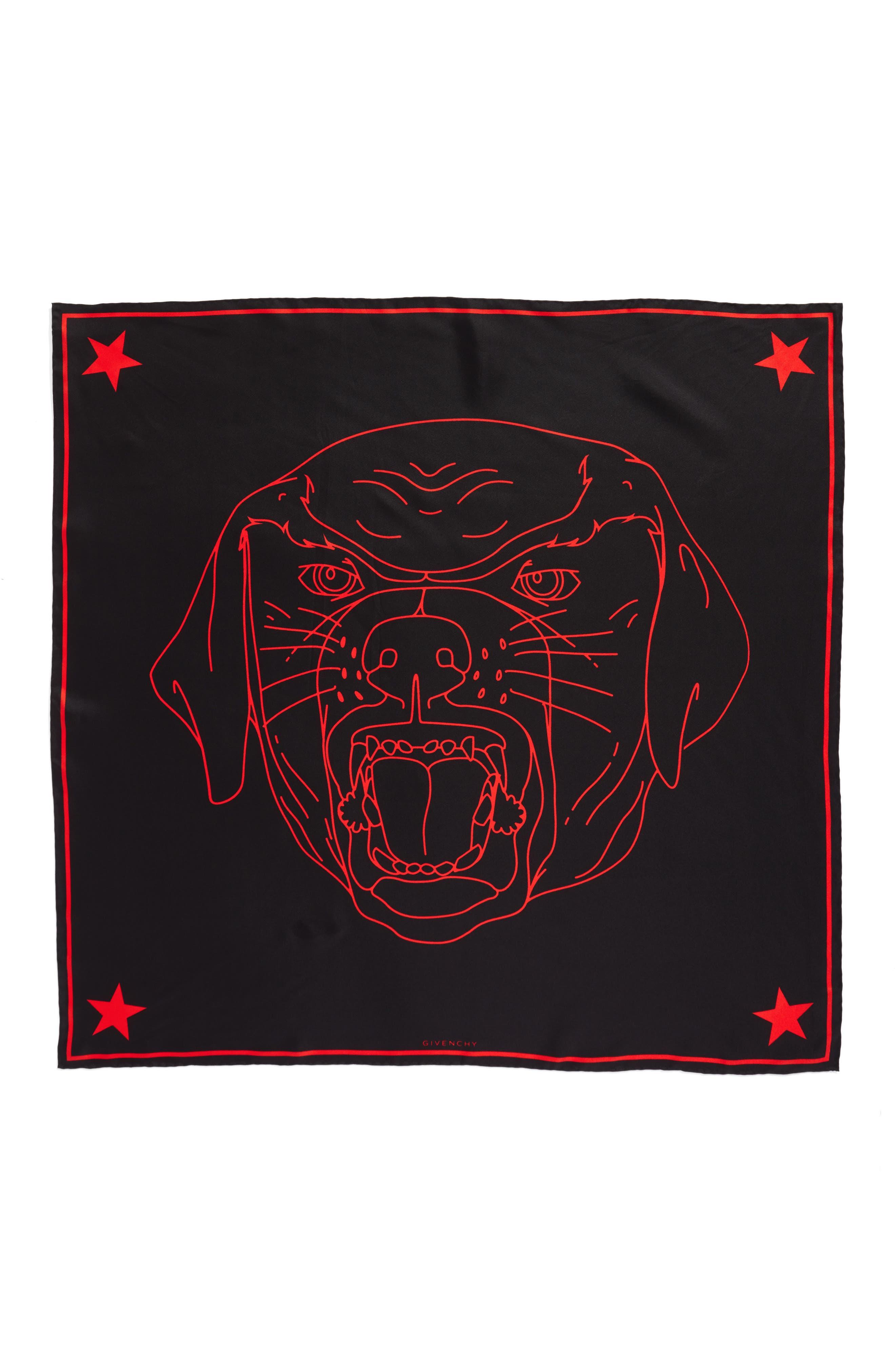 Rottweiler Silk Twill Scarf,                         Main,                         color, 002