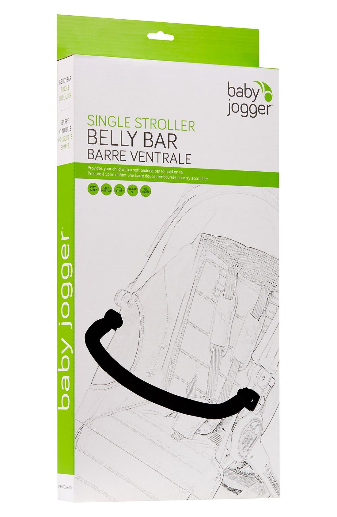 'Belly Bar' Padded Stroller Bar,                         Main,                         color, BLACK