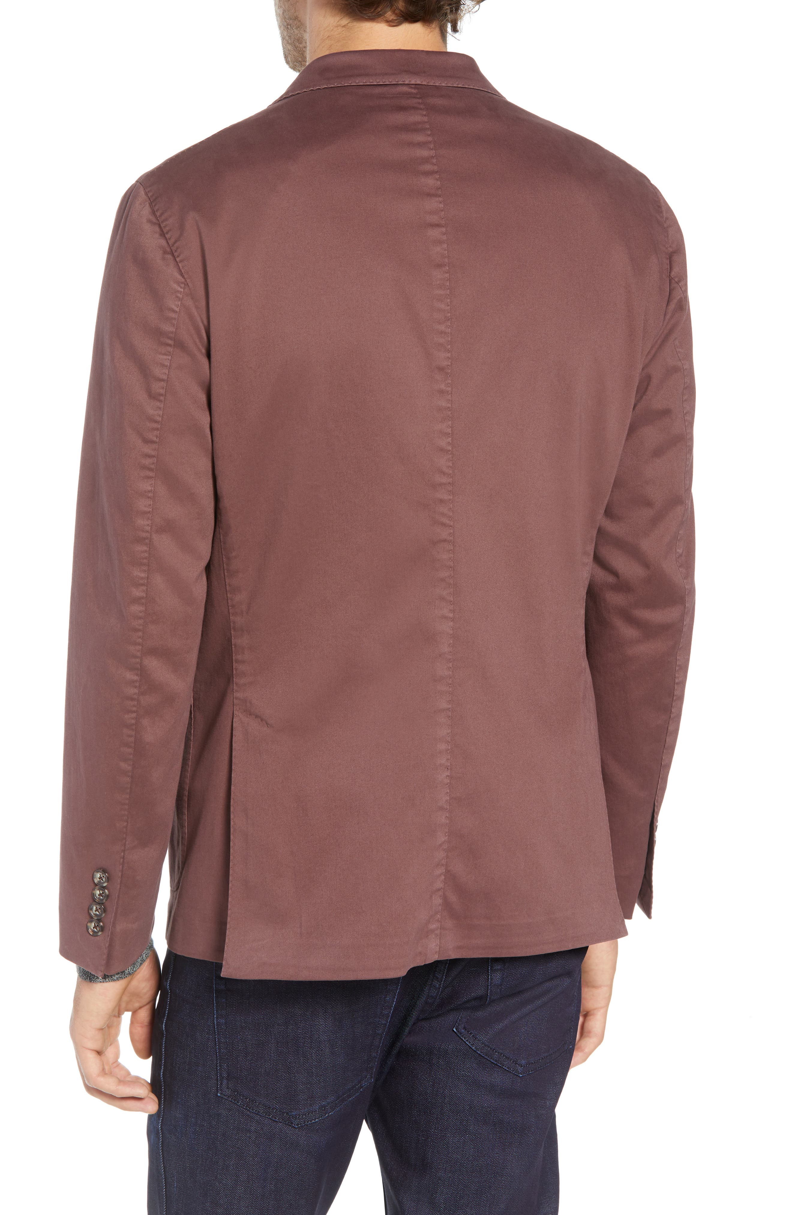 Trim Fit Stretch Cotton Blazer,                             Alternate thumbnail 2, color,                             DARK RED