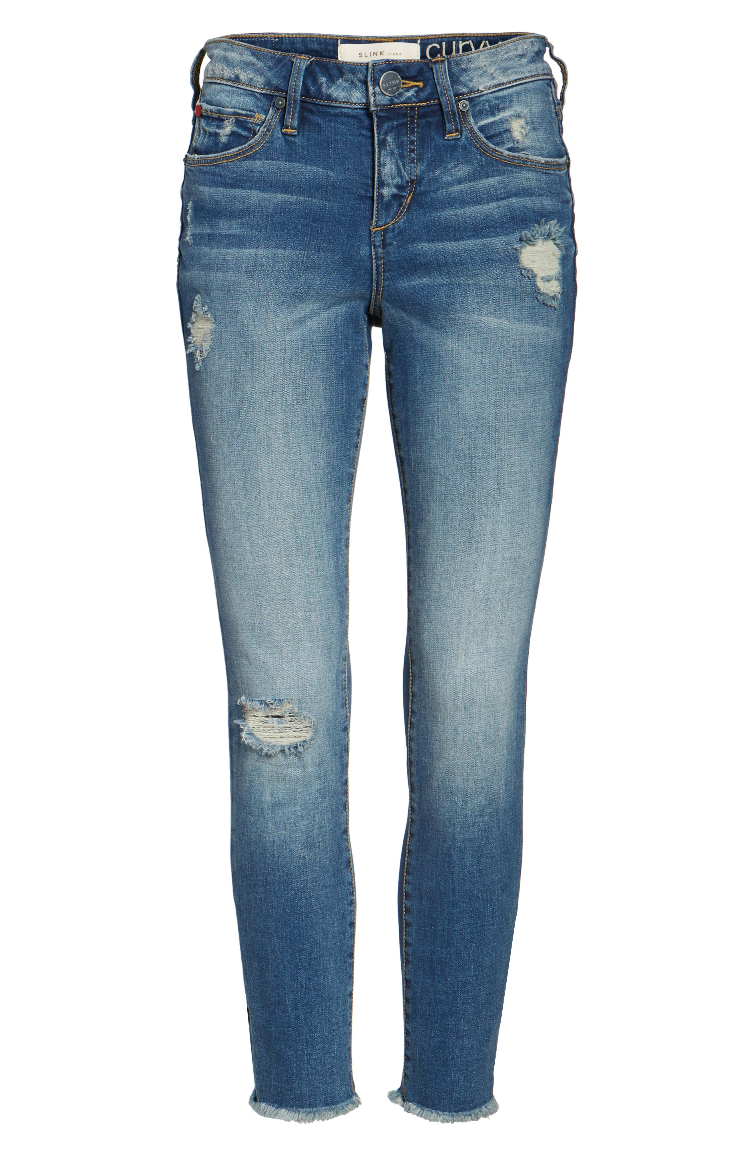 Frayed Hem Ripped Ankle Jeans,                             Alternate thumbnail 6, color,                             CARALYN