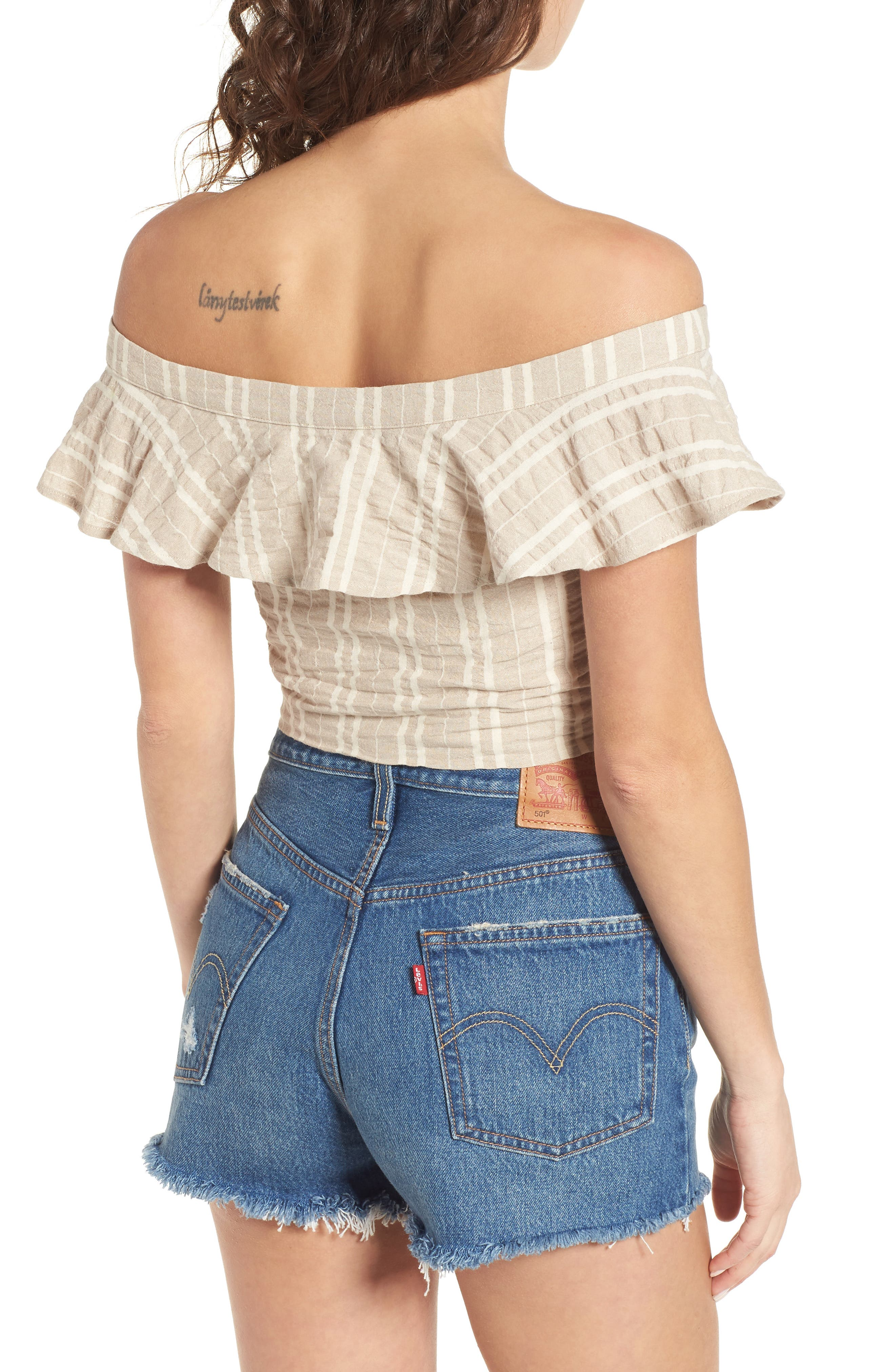 Stella Ruffle Off the Shoulder Crop Top,                             Alternate thumbnail 2, color,                             904