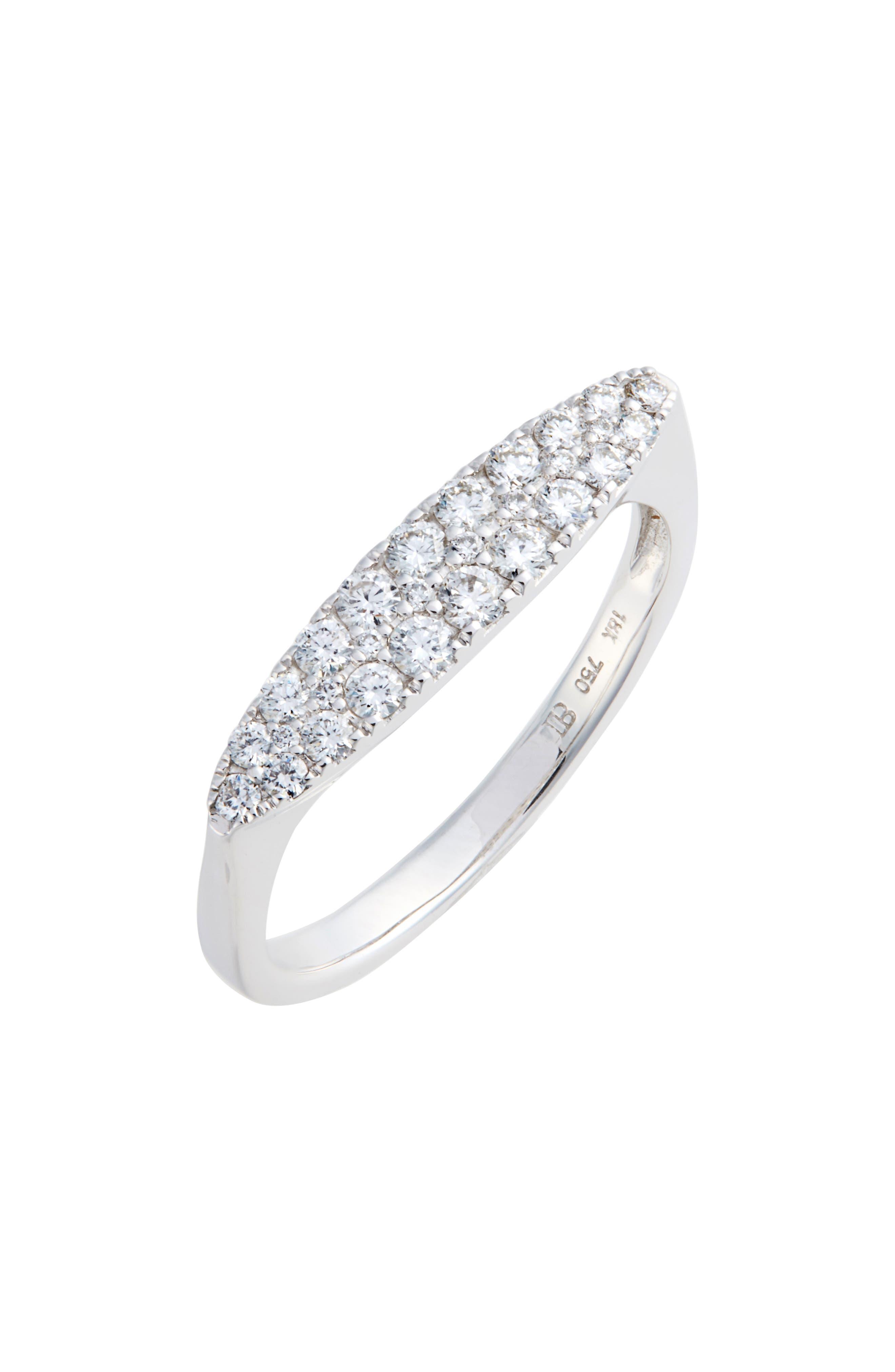Oval Diamond Stacking Ring,                             Main thumbnail 1, color,                             WHITE GOLD/ DIAMOND