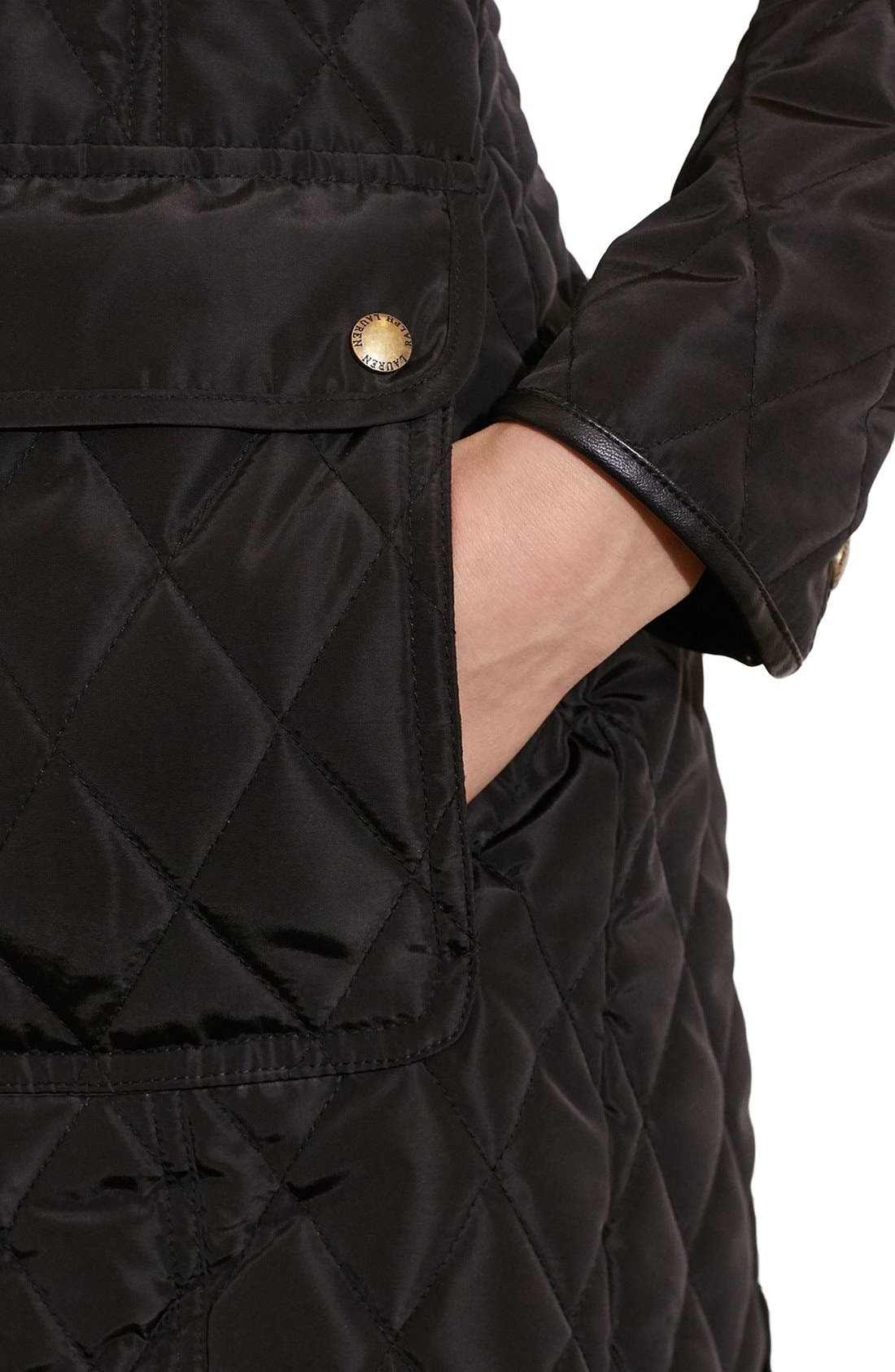 Diamond Quilted Coat with Faux Leather Trim,                             Alternate thumbnail 10, color,