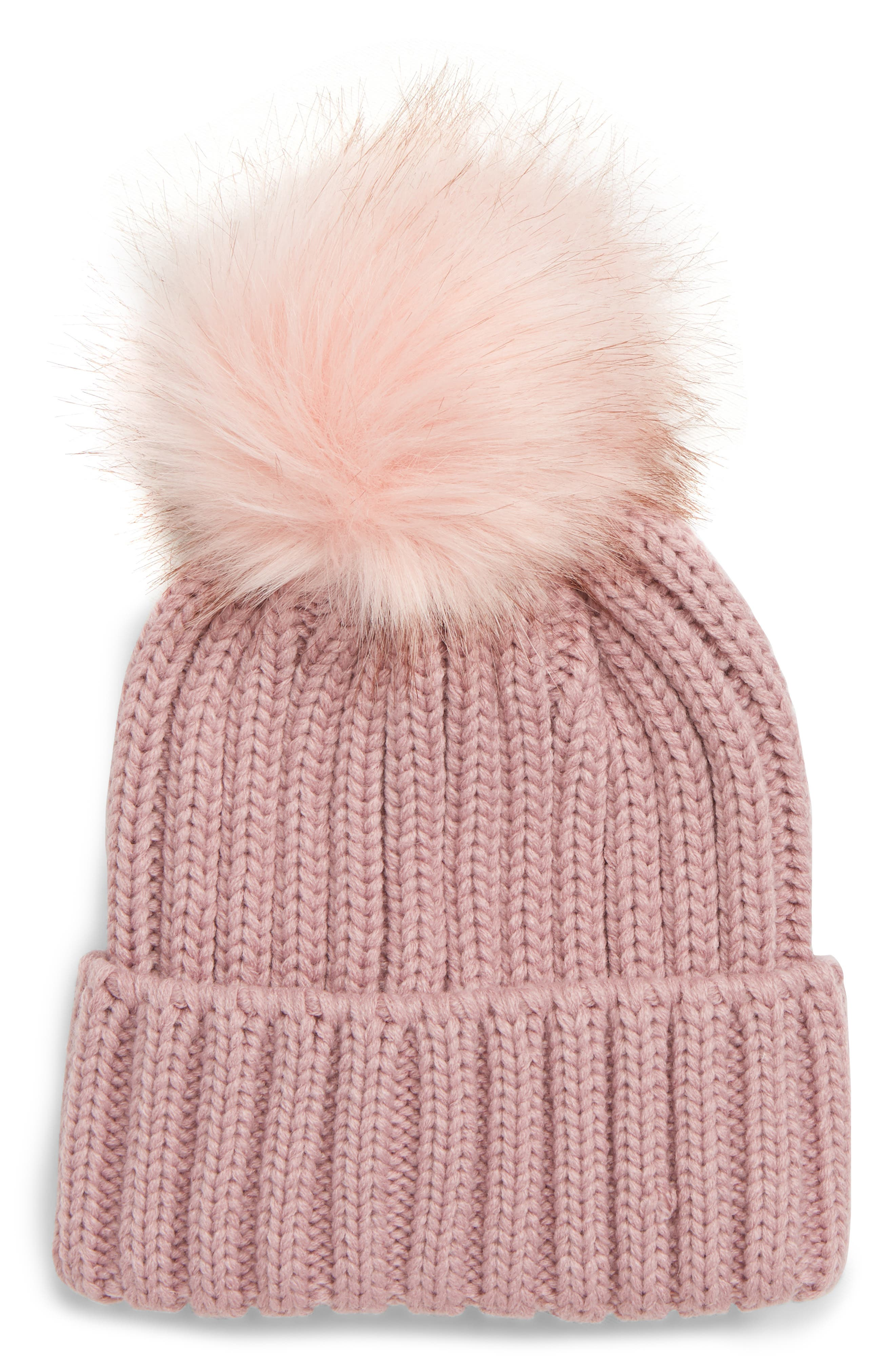 Faux Fur Pompom Beanie,                             Main thumbnail 1, color,                             MAUVE