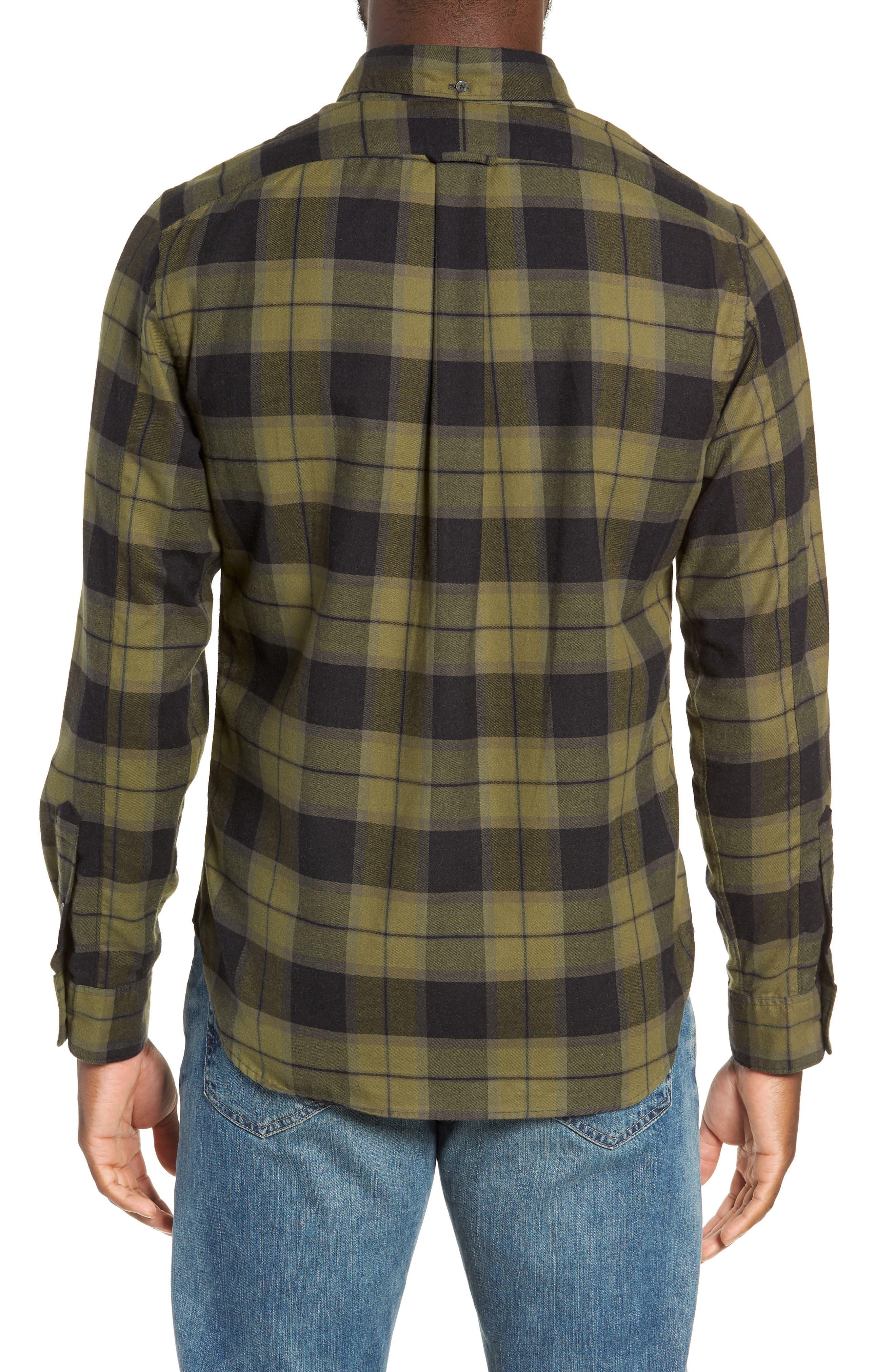 Classic Fit Plaid Flannel Sport Shirt,                             Alternate thumbnail 3, color,                             OLIVE