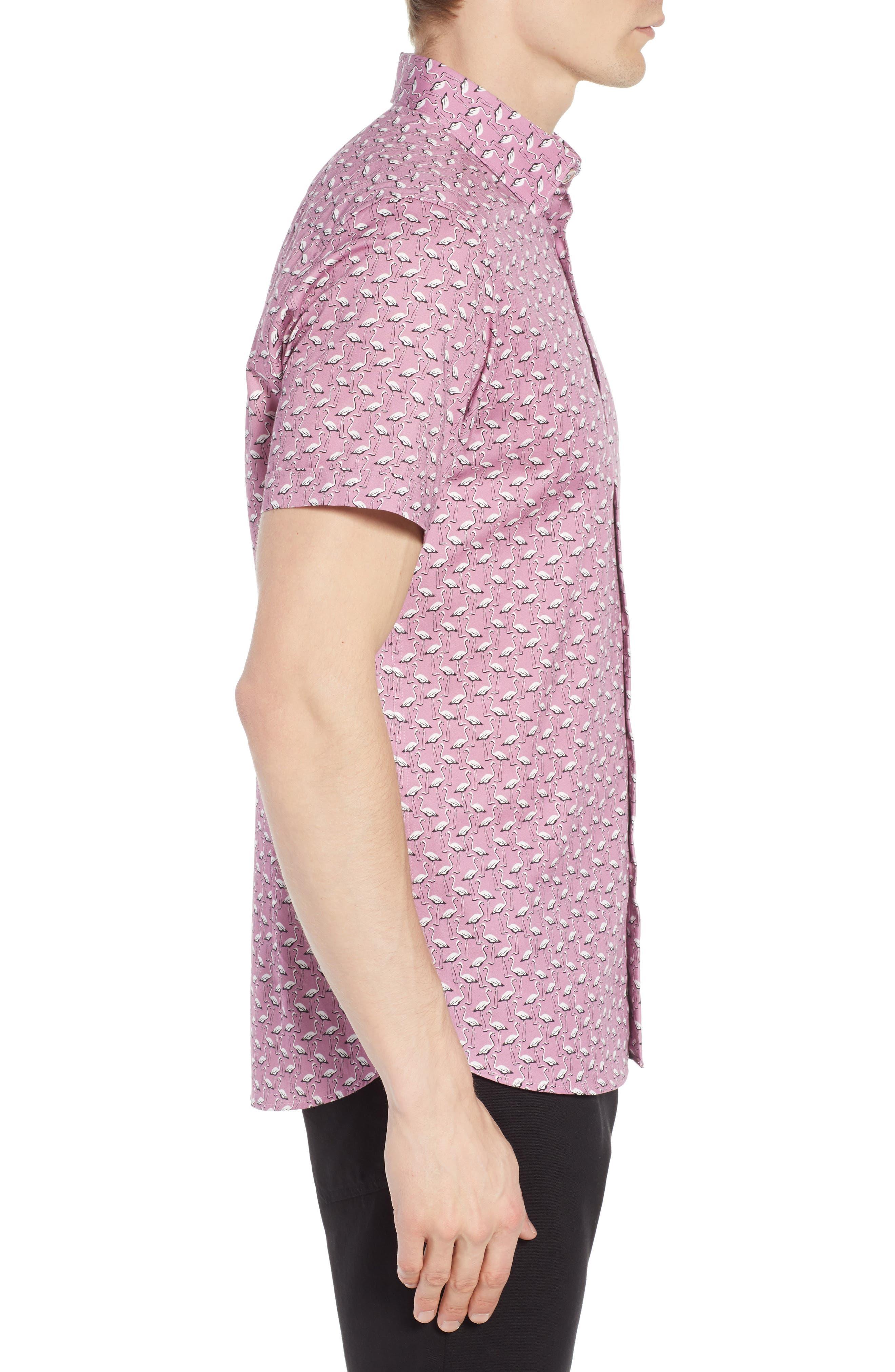 Norflam Flamingo Print Sport Shirt,                             Alternate thumbnail 3, color,                             650