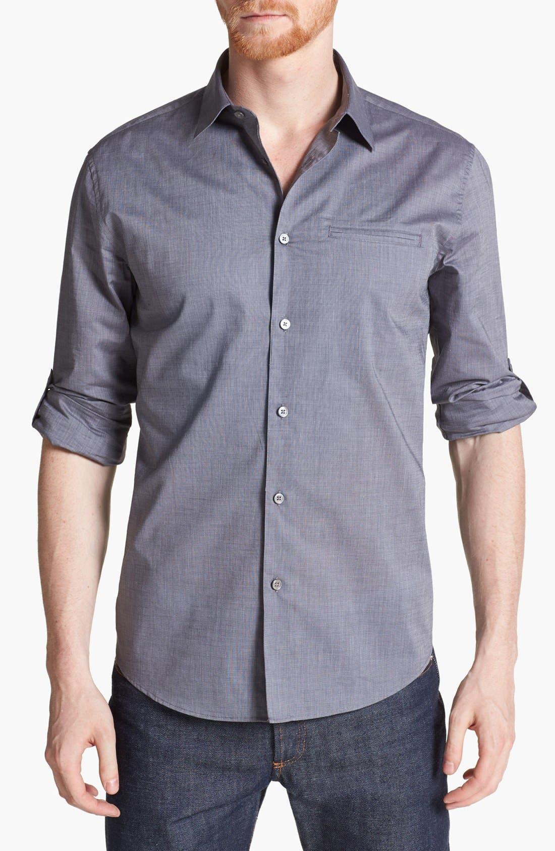 Slim Fit Cotton Woven Shirt,                             Main thumbnail 1, color,                             THUNDER