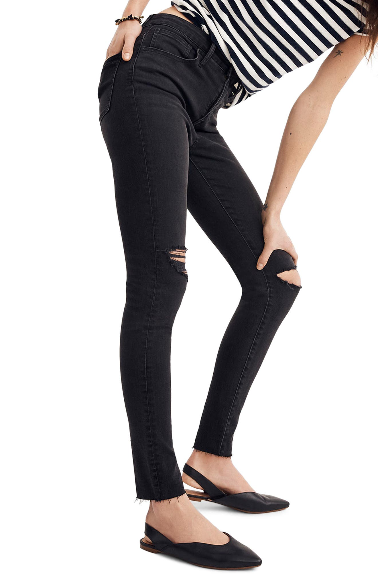 Curvy High Waist Skinny Jeans,                             Main thumbnail 1, color,                             BLACK SEA