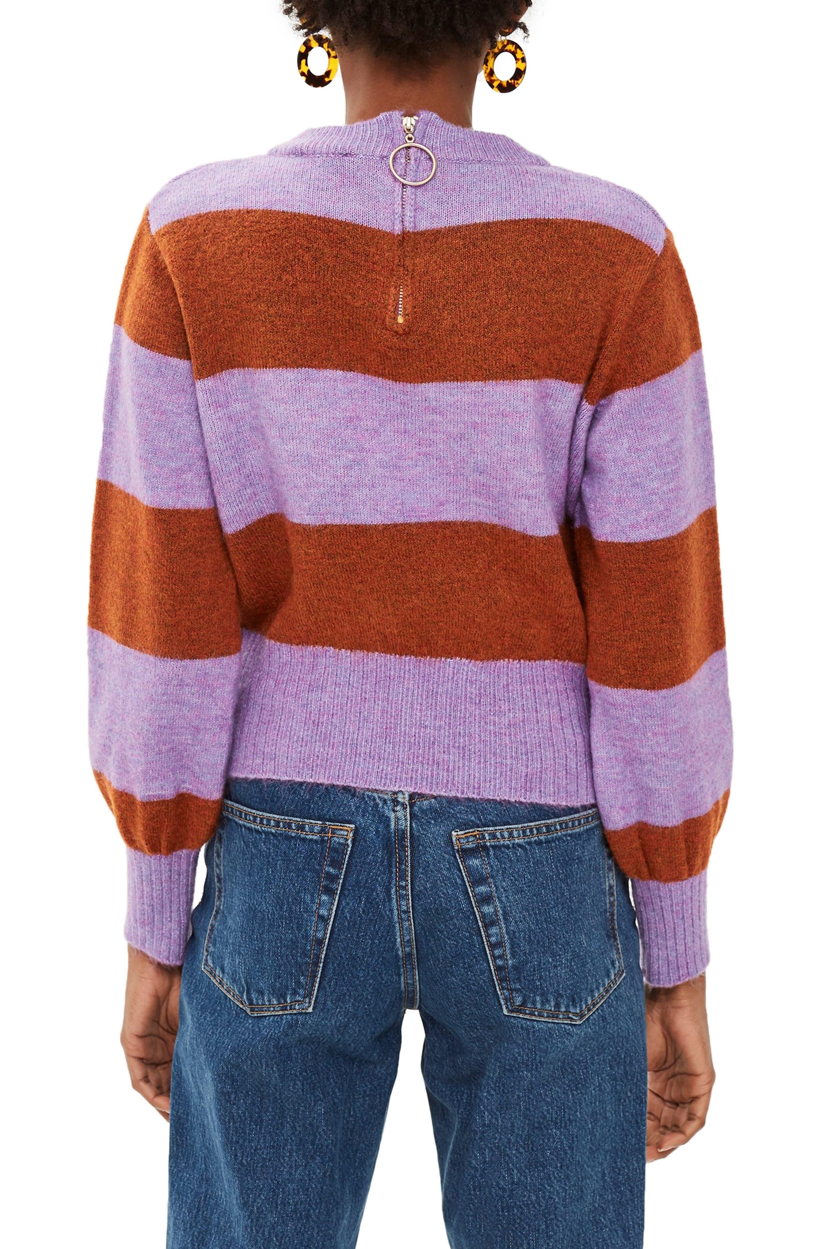 Bold Stripe Crewneck Sweater,                             Alternate thumbnail 2, color,                             PURPLE MULTI