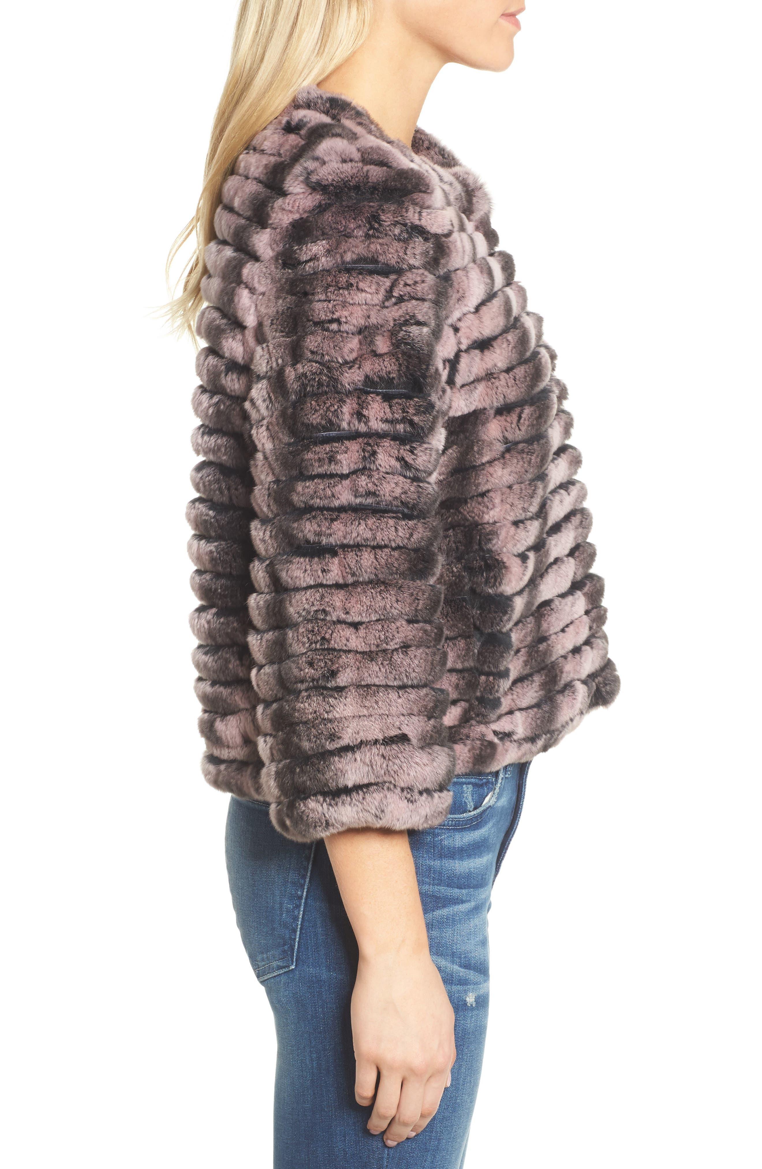 Genuine Rabbit Fur Crop Jacket,                             Alternate thumbnail 6, color,