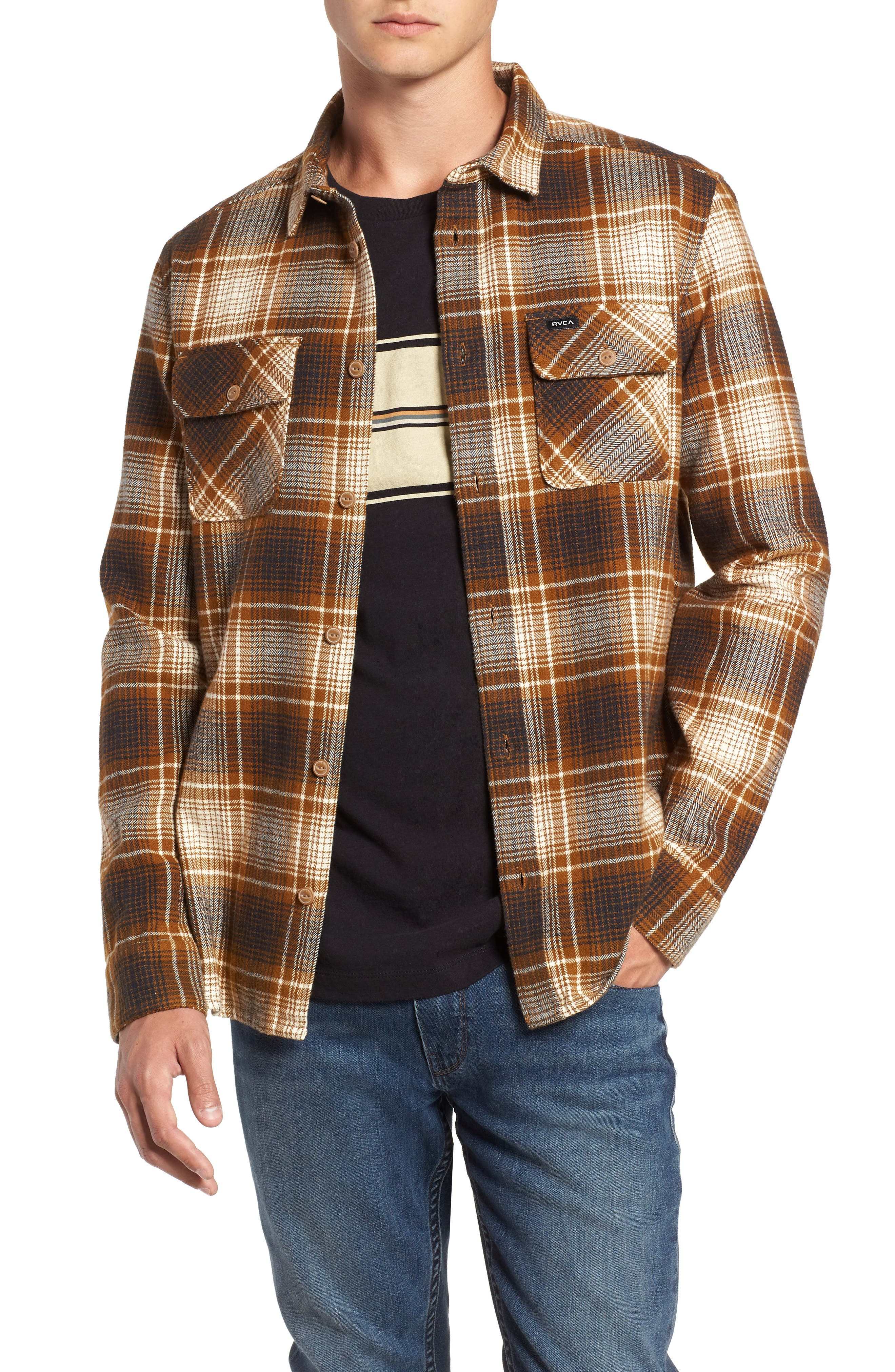 Rvca High Plains Flannel Shirt, Metallic
