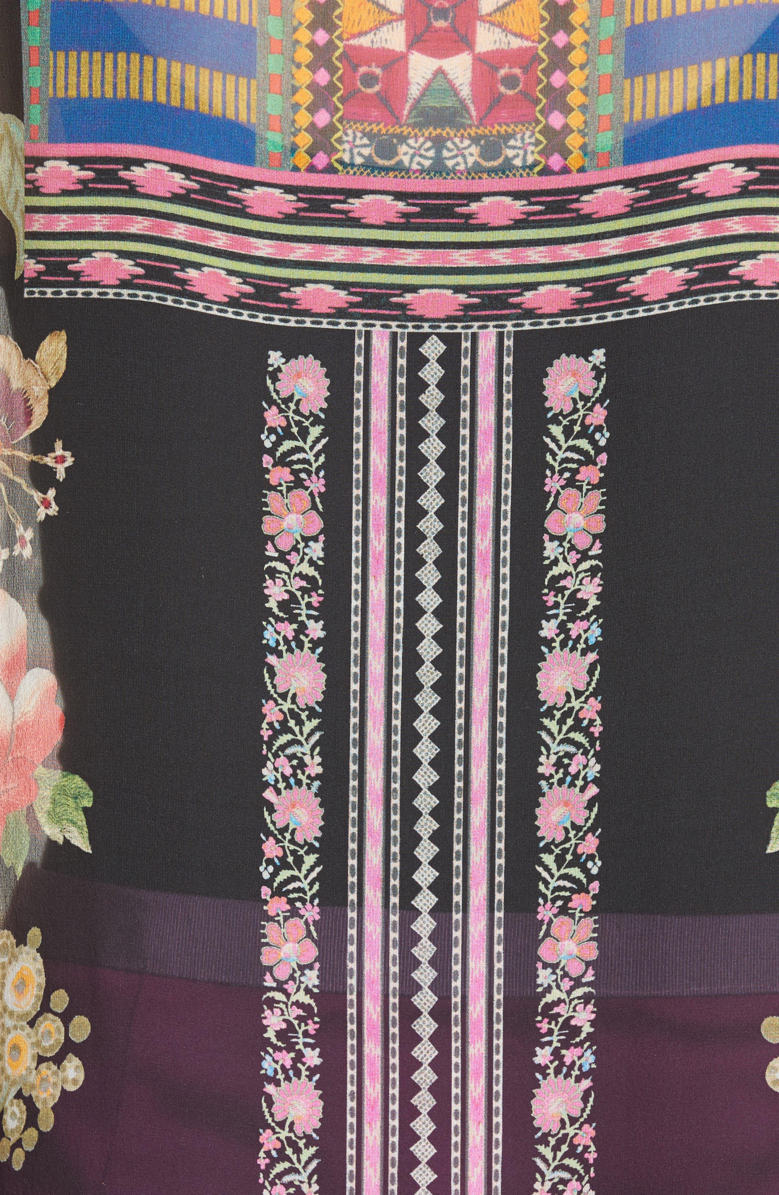 Fringe Trim Floral Print Silk Poncho,                             Alternate thumbnail 5, color,