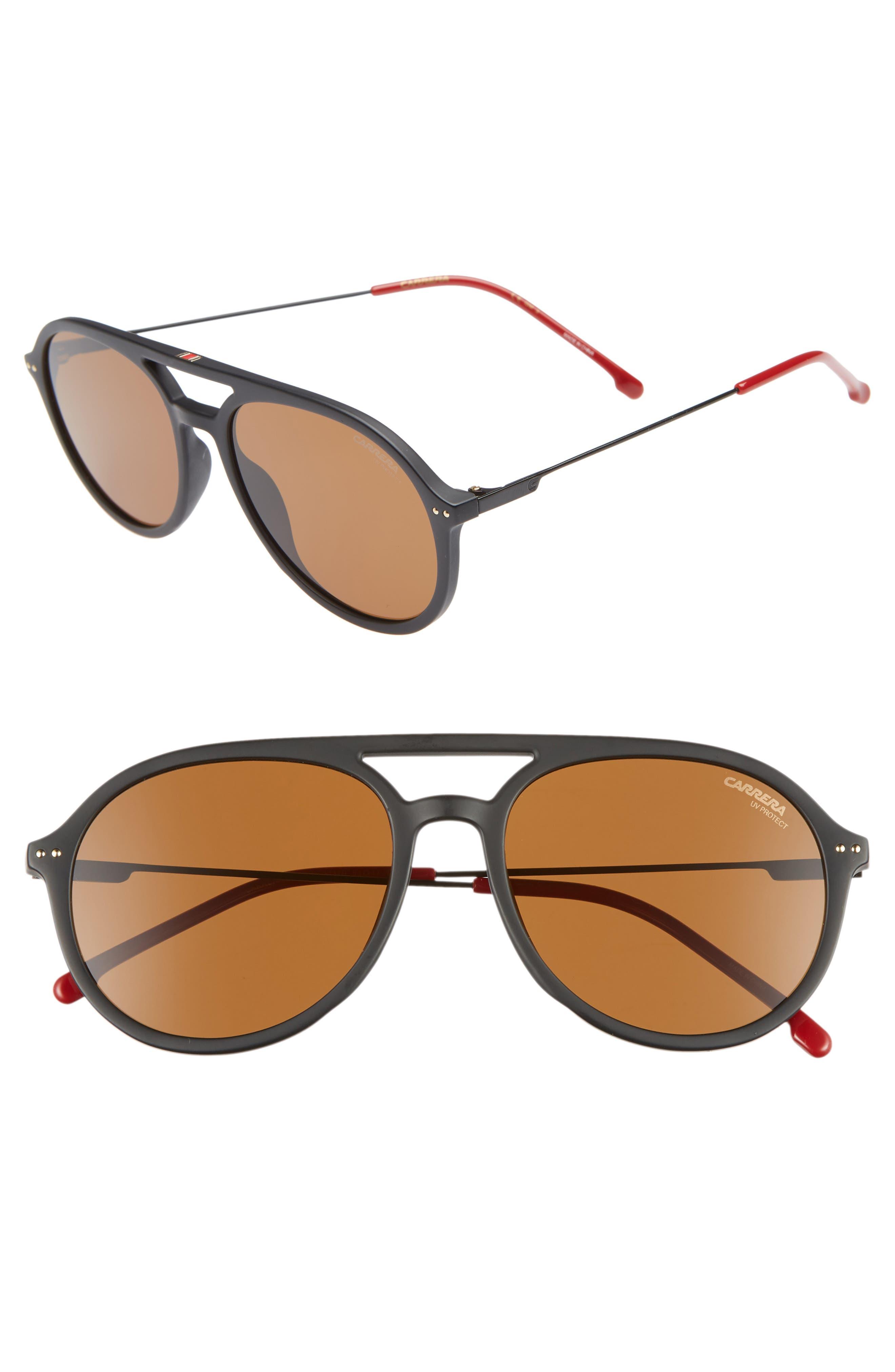 53mm Aviator Sunglasses,                         Main,                         color, MATTE BLACK