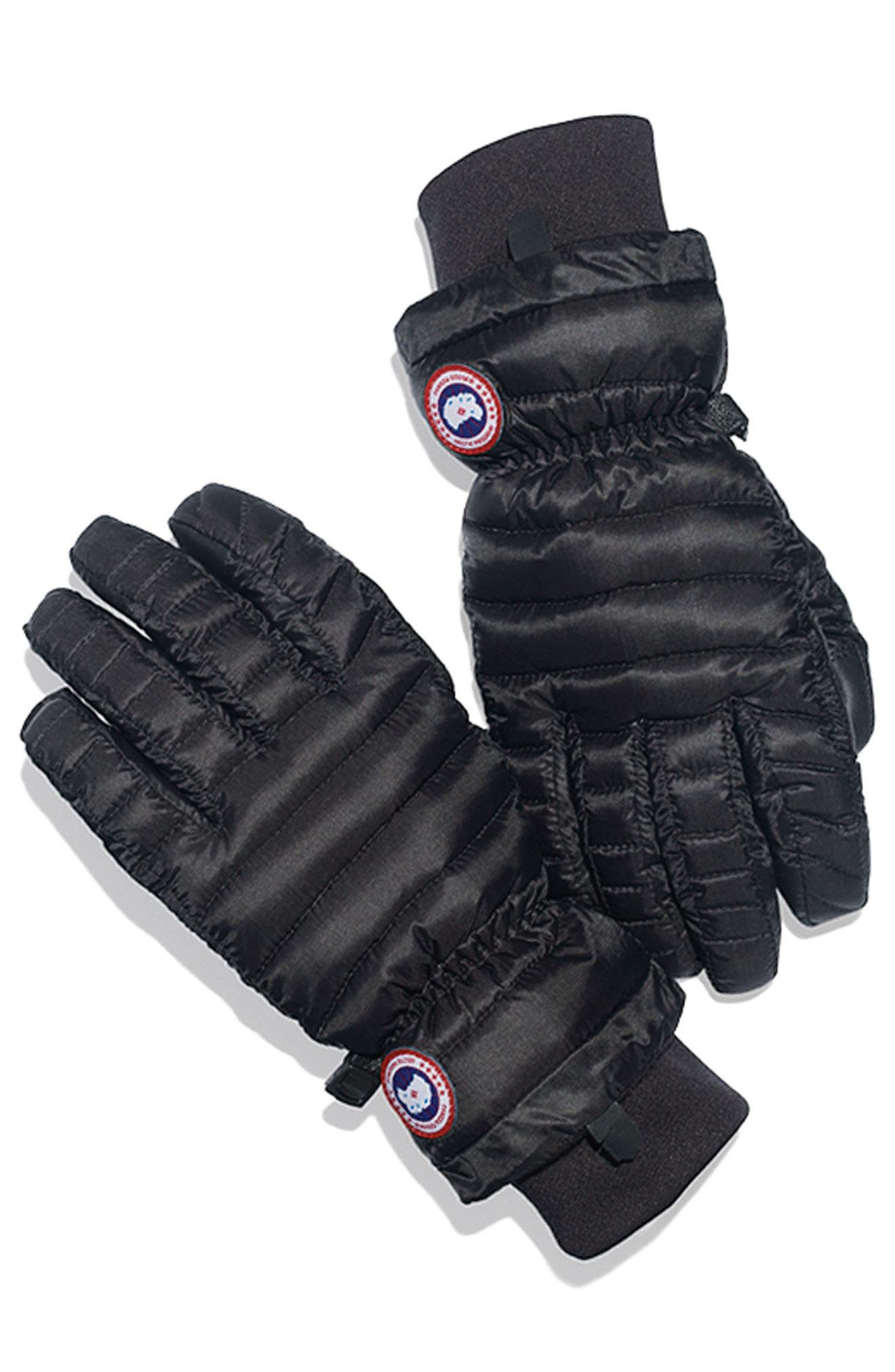 Lightweight Quilted Down Gloves,                             Alternate thumbnail 3, color,                             BLACK