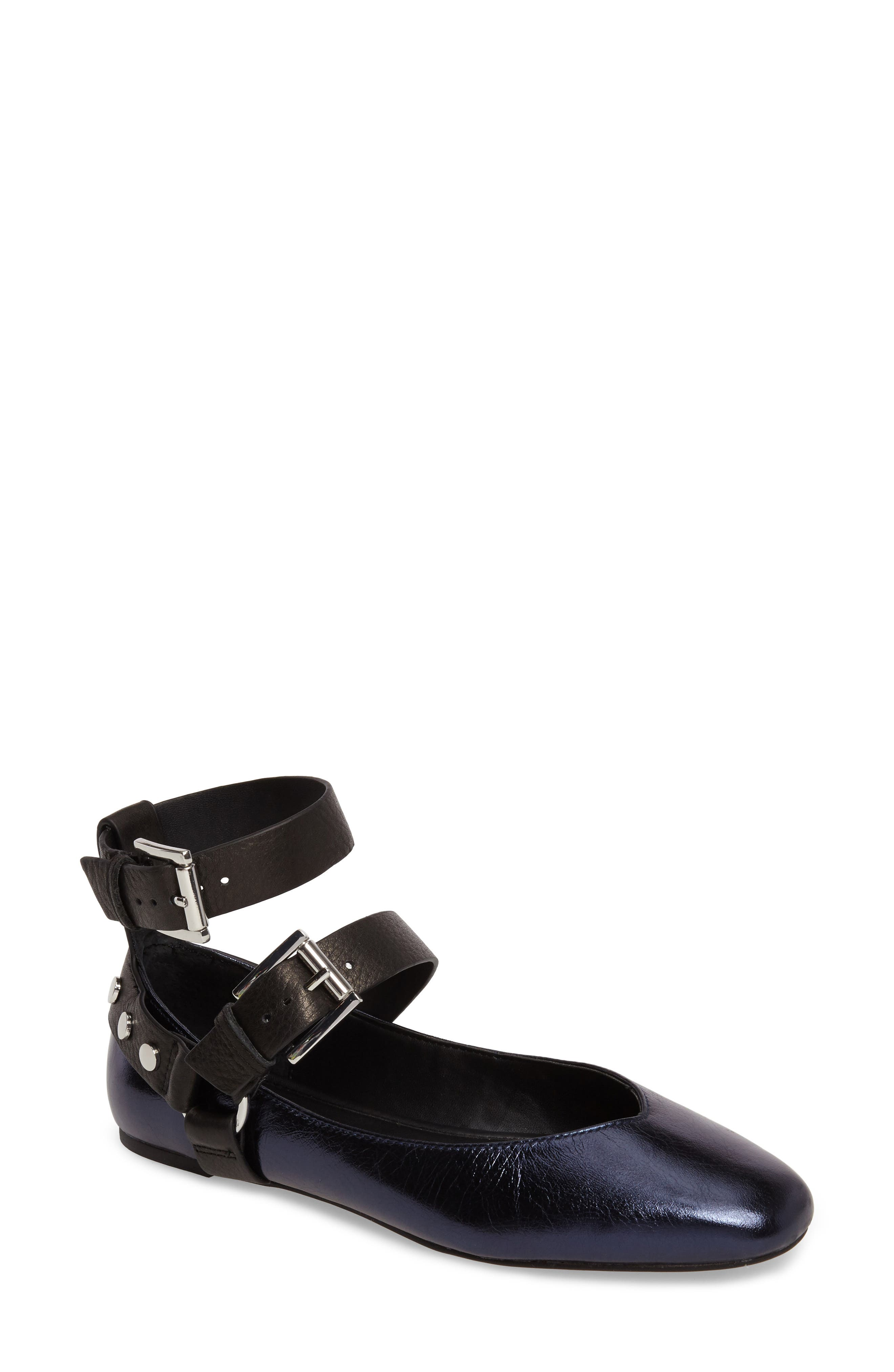 Vivica Ankle Strap Flat,                         Main,                         color, 001