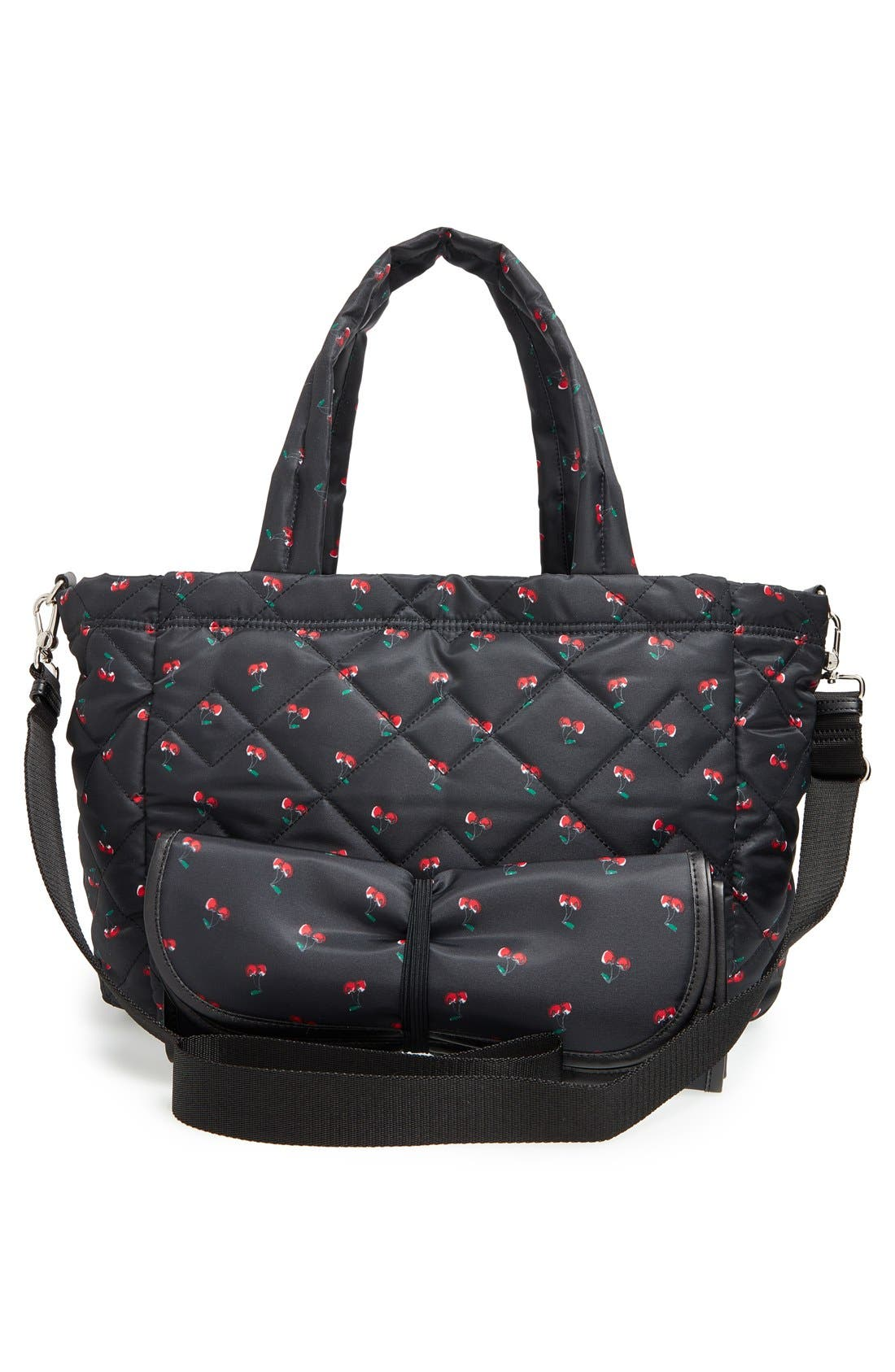 MARC JACOBS,                             MARC BY MARC JACOBS 'Crosby - Elizababy' Quilted Fruit Print Diaper Bag,                             Alternate thumbnail 2, color,                             001