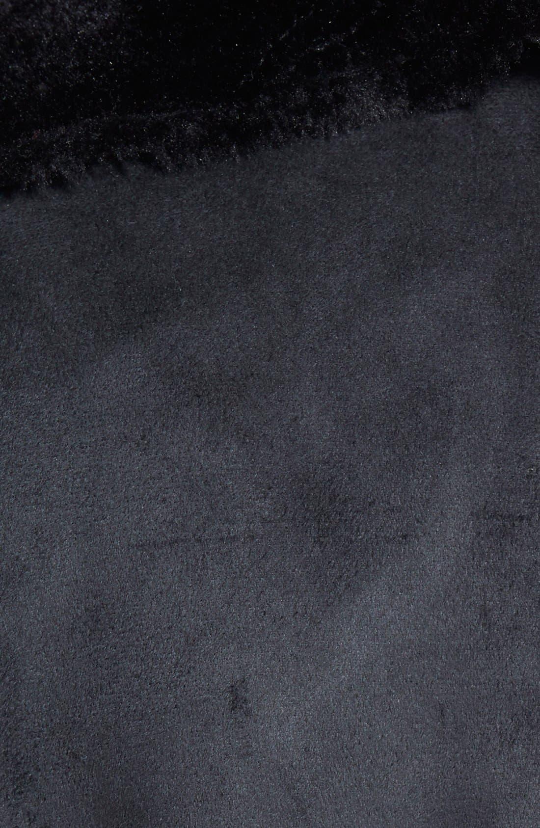 Velvet Faux Shearling Coat,                             Alternate thumbnail 3, color,                             001